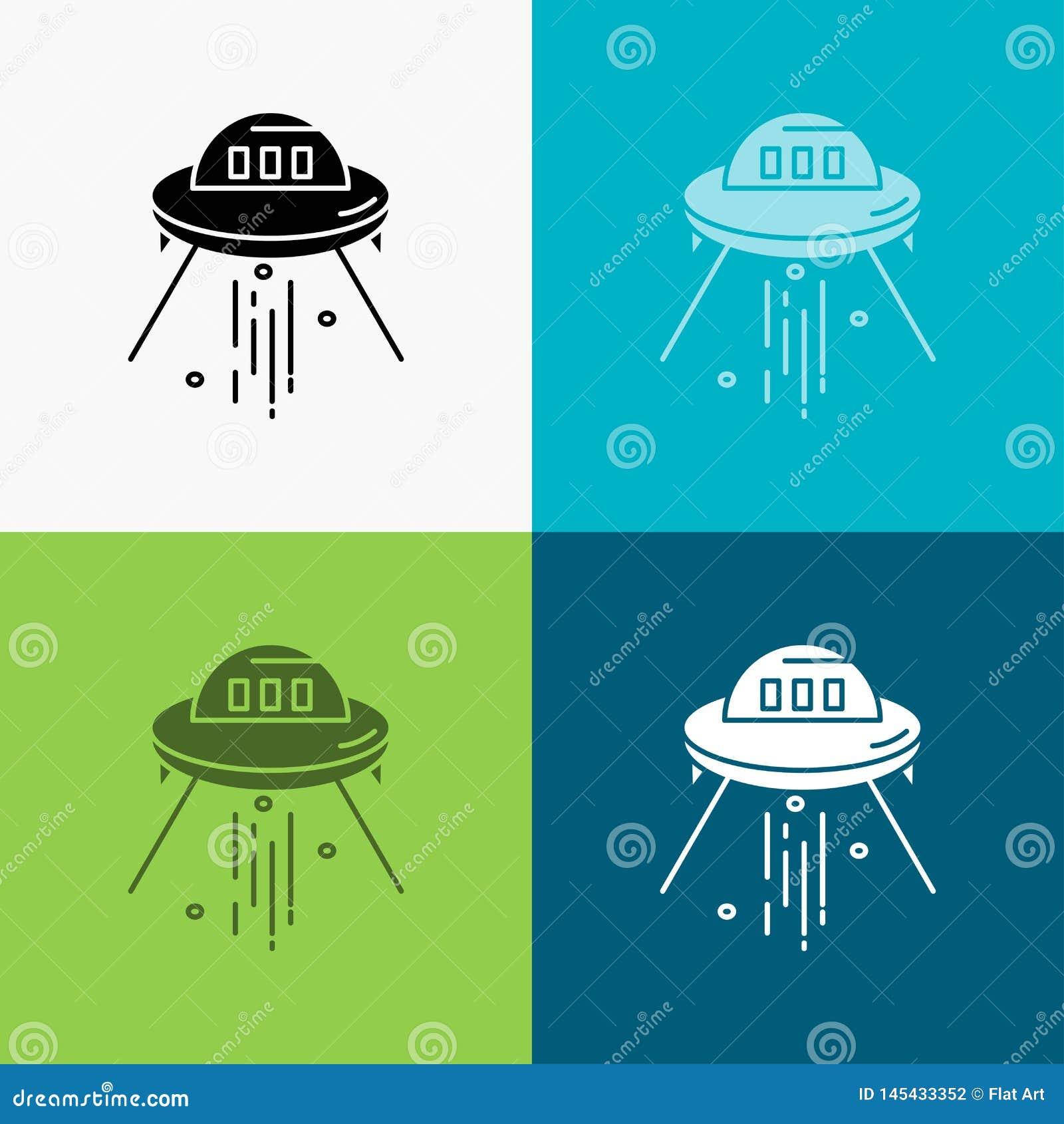 διαστημικό σκάφος, διάστημα, σκάφος, πύραυλος, αλλοδαπό εικονίδιο πέρα από το διάφορο υπόβαθρο glyph σχέδιο ύφους, που σχεδιάζετα