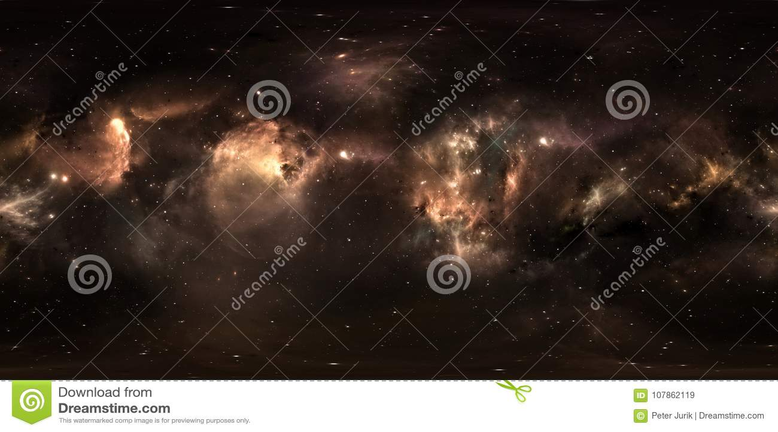 Διαστημικό υπόβαθρο με το νεφέλωμα και τα αστέρια σκόνης Πανόραμα, περιβάλλον 360 χάρτης HDRI Προβολή Equirectangular, σφαιρικό π