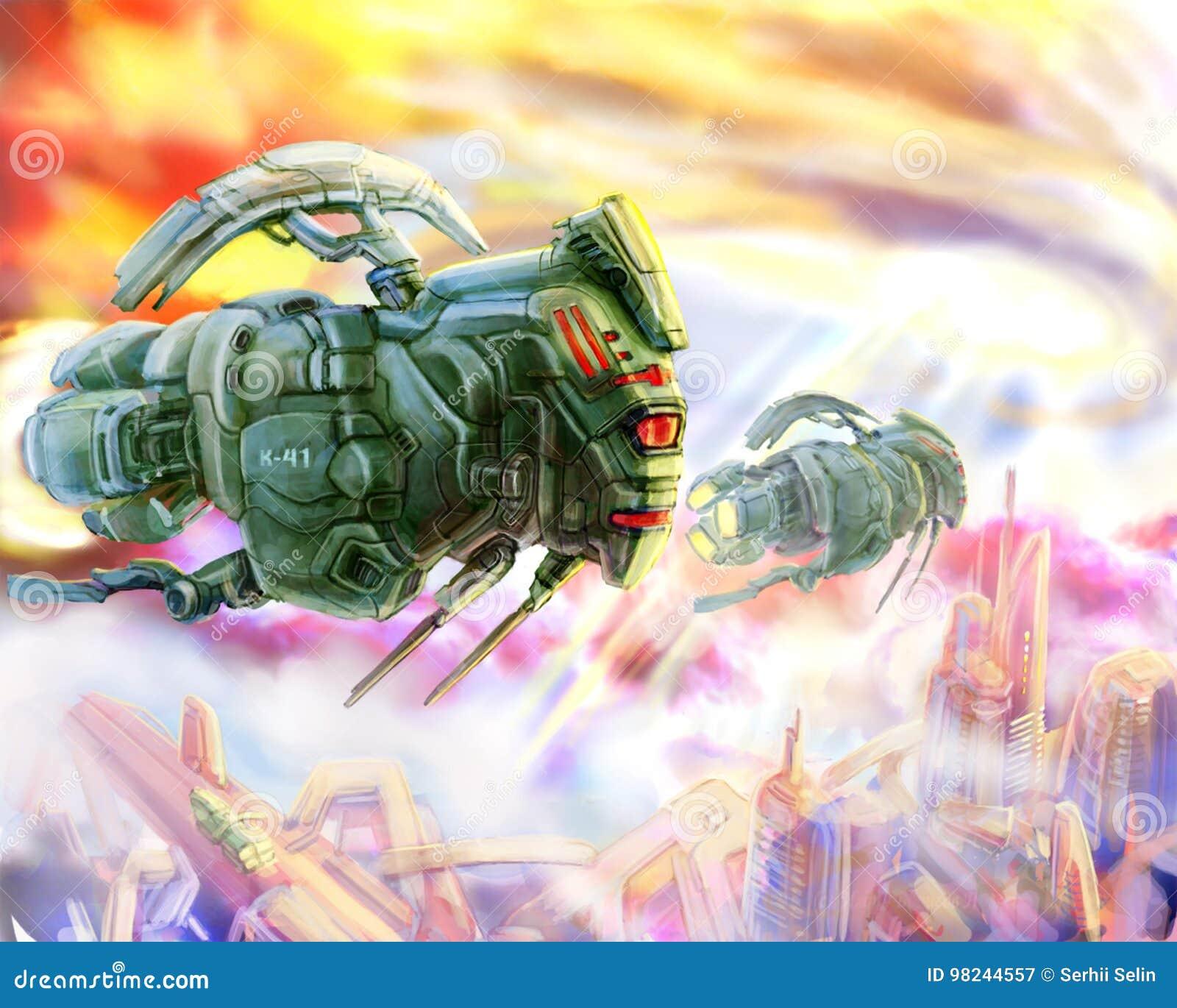 Διαστημόπλοια αλλοδαπών όπως μια απεικόνιση επιστημονικής φαντασίας ακρίδων