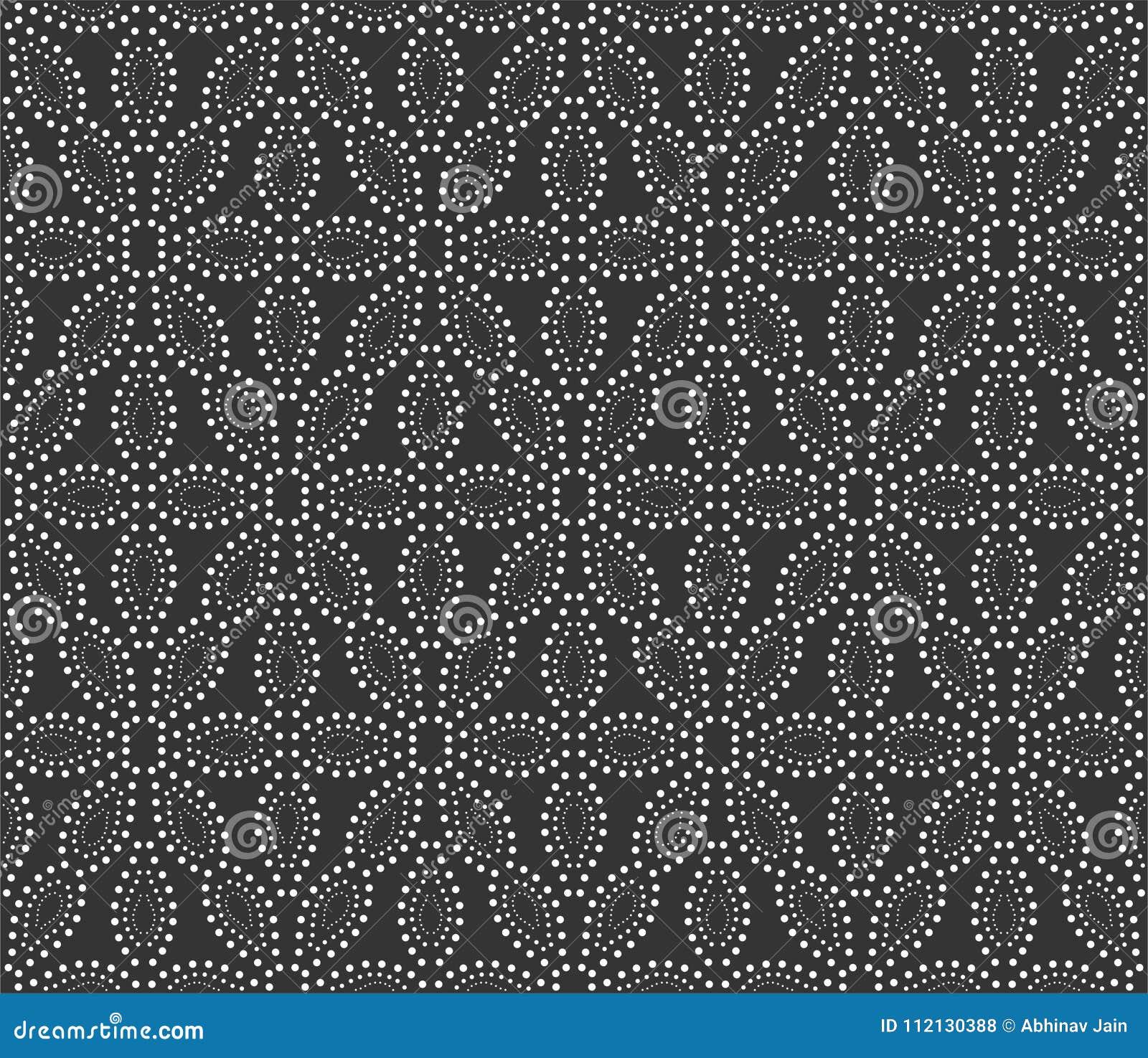 Διαστιγμένη απεικόνιση υποβάθρου σχεδίων λουλουδιών στο μαύρο μόριο ν
