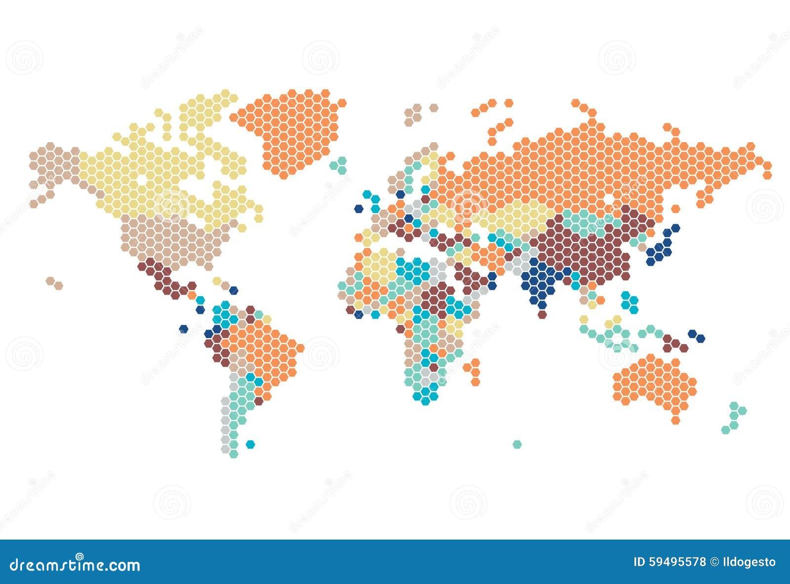 Διαστιγμένος παγκόσμιος χάρτης των εξαγωνικών σημείων