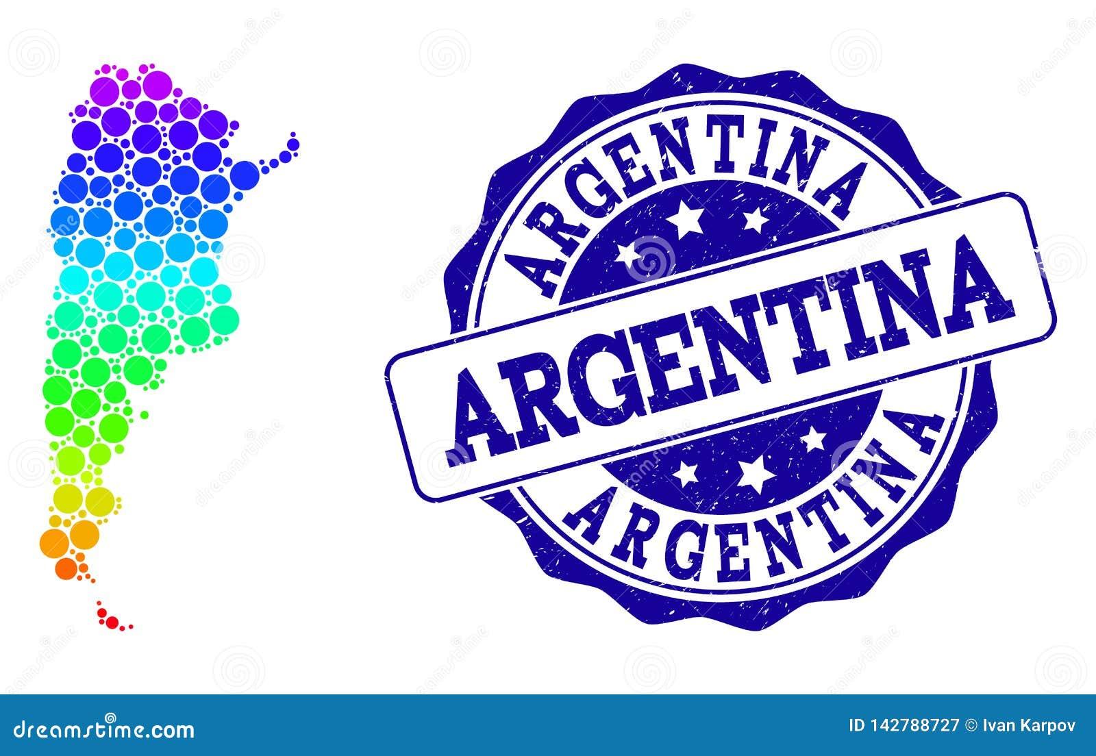 Διαστιγμένος χάρτης ουράνιων τόξων της σφραγίδας γραμματοσήμων της Αργεντινής και Grunge