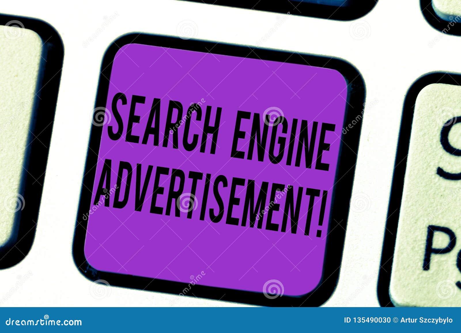 Διαφήμιση μηχανών αναζήτησης κειμένων γραφής Έννοια που σημαίνει τοποθετώντας τις σε απευθείας σύνδεση διαφημίσεις στο κλειδί πλη