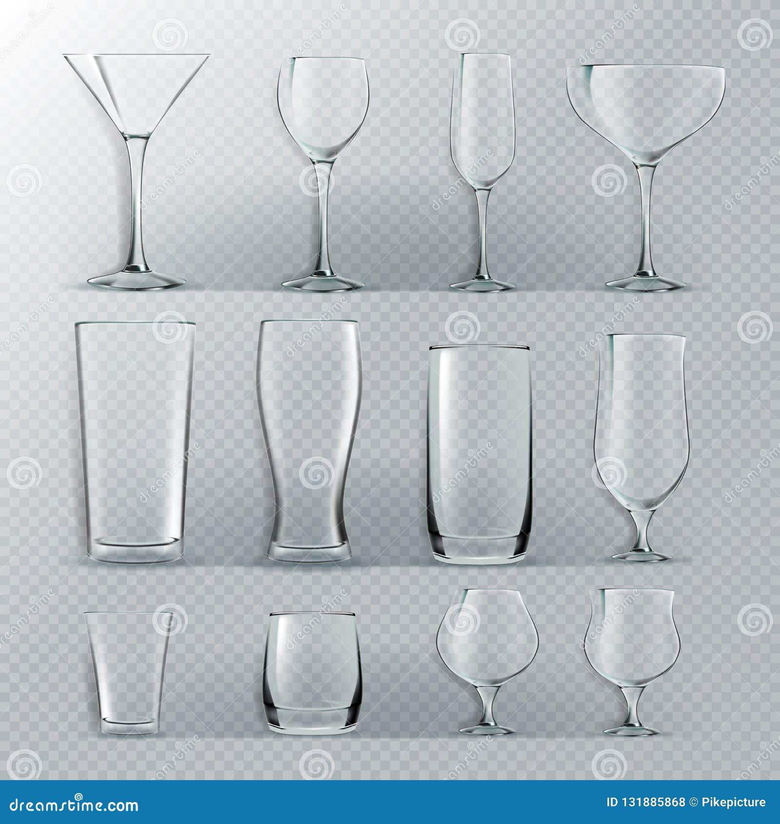 Διαφανές καθορισμένο διάνυσμα γυαλιού Διαφανή κενά Goblets γυαλιών για το νερό, οινόπνευμα, χυμός, ποτό κοκτέιλ ρεαλιστικός