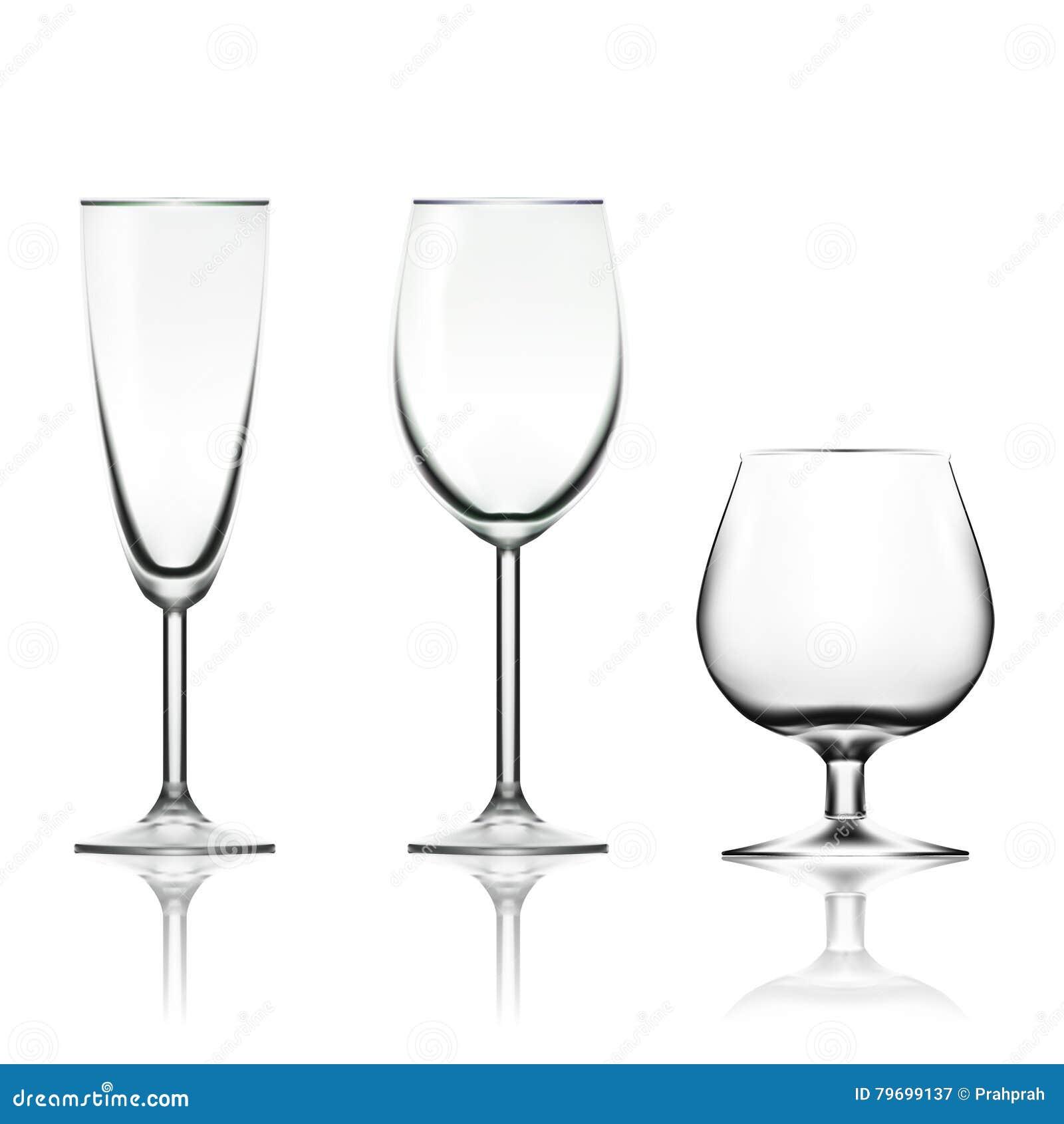 Διαφανές κενό κρασί, CHAMPAGNE και γυαλί κονιάκ που απομονώνεται στο λευκό