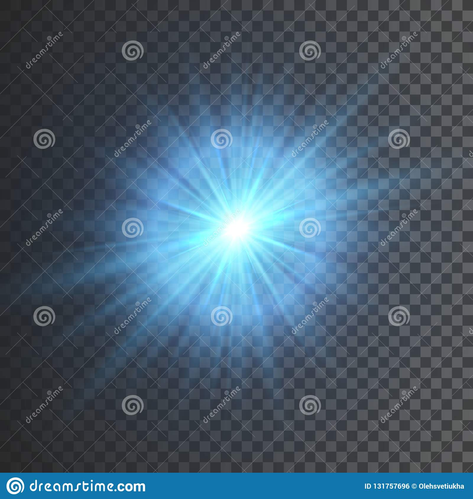 Διαφανής ελαφριά επίδραση πυράκτωσης Έκρηξη αστεριών με τα σπινθηρίσματα Το μπλε ακτινοβολεί επίσης corel σύρετε το διάνυσμα απει