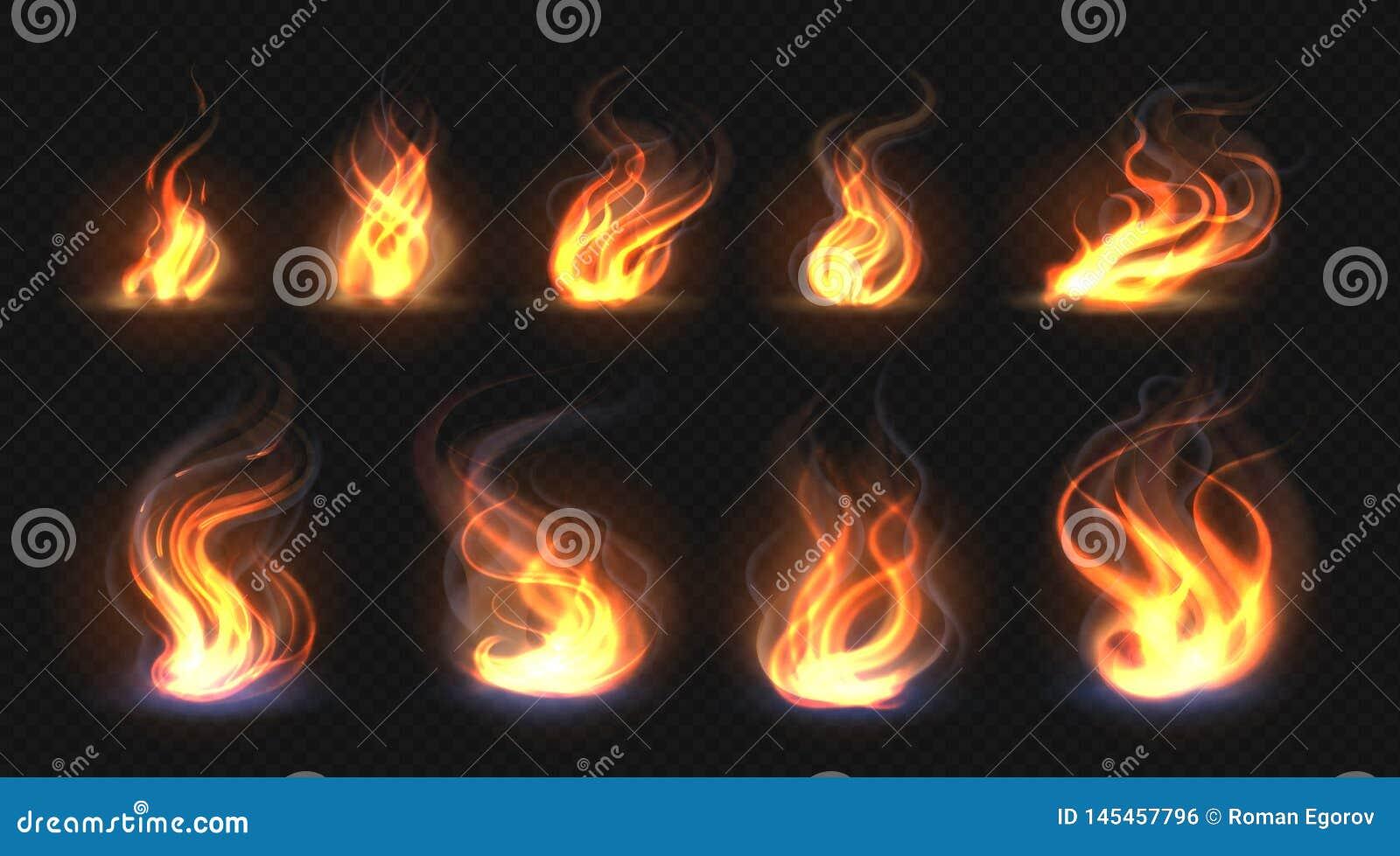 Ρεαλιστικές φλόγες πυρκαγιάς Διαφανής επίδραση φανών, αφηρημένη φλόγα κόκκινου φωτός, πρότυπο σχεδίου πυρών προσκόπων Διανυσματικ