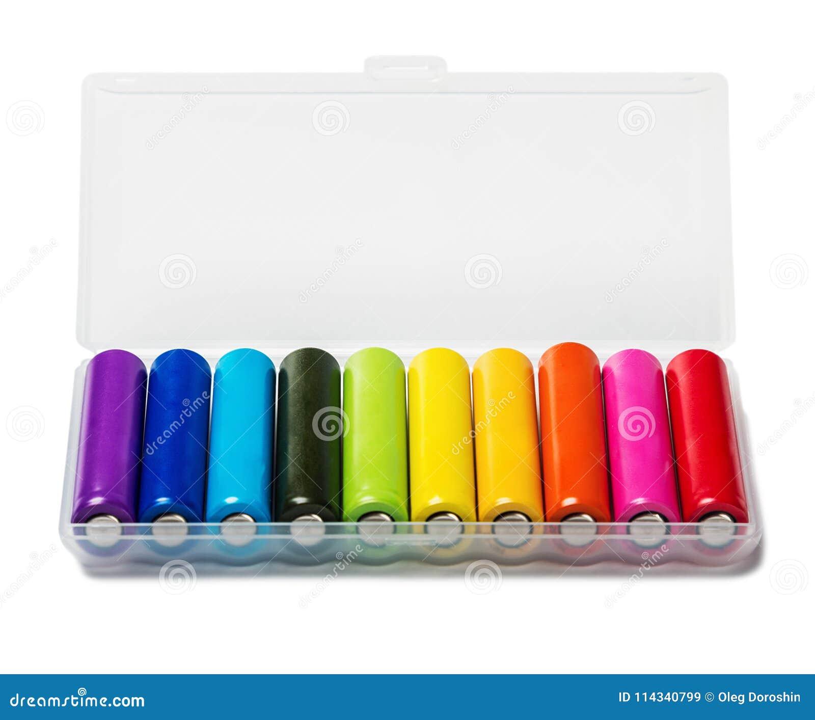 Διαφορετικές αλκαλικές μπαταρίες ή επαναφορτιζόμενες μπαταρίες ISO χρώματος