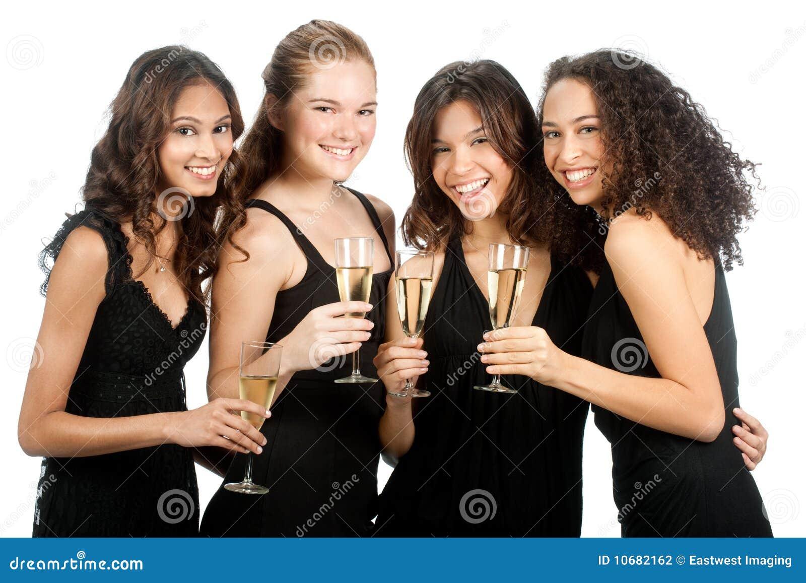 Διαφορετικοί έφηβοι με Wineglasses