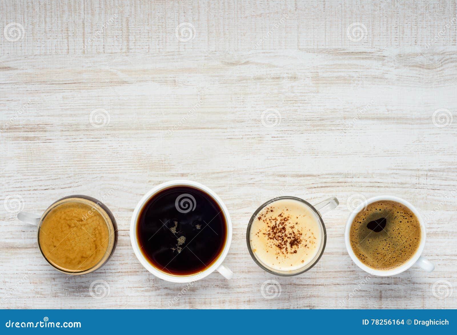 Διαφορετικοί τύποι καφέδων με το διάστημα αντιγράφων