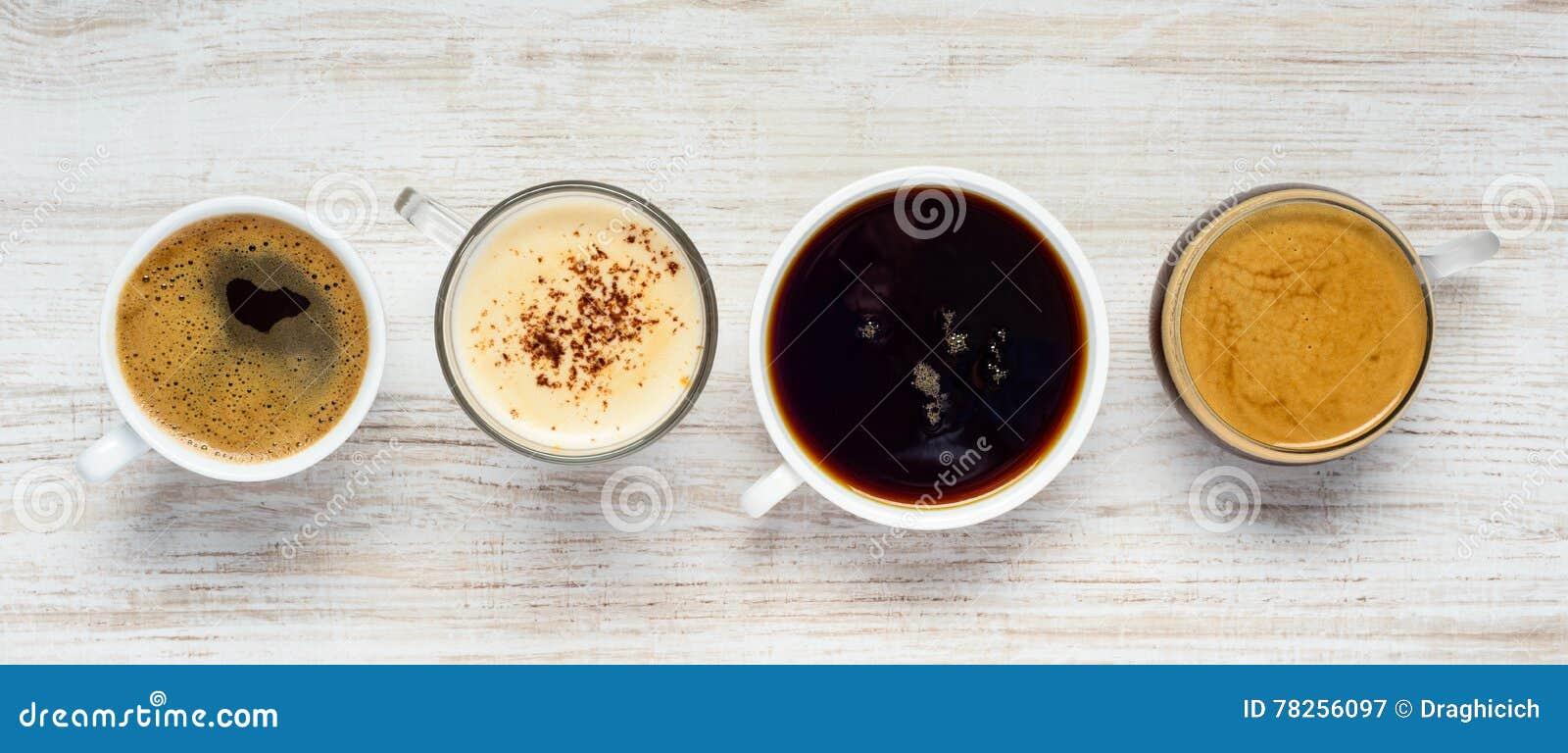 Διαφορετικοί τύποι ποτών καφέ
