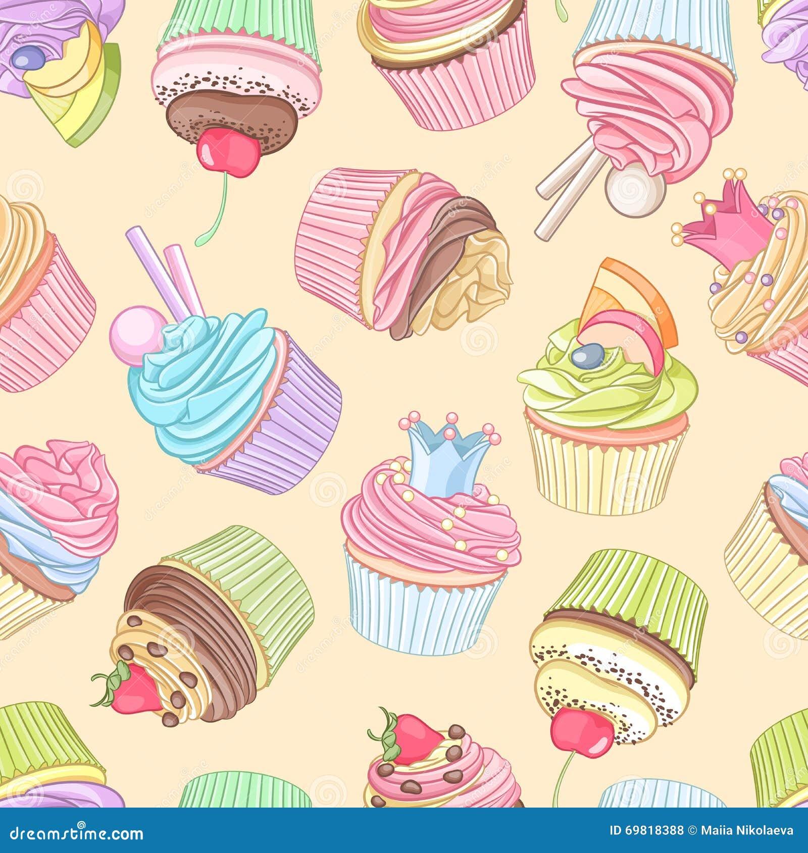 Διαφορετικό άνευ ραφής σχέδιο cupcakes επίσης corel σύρετε το διάνυσμα απεικόνισης