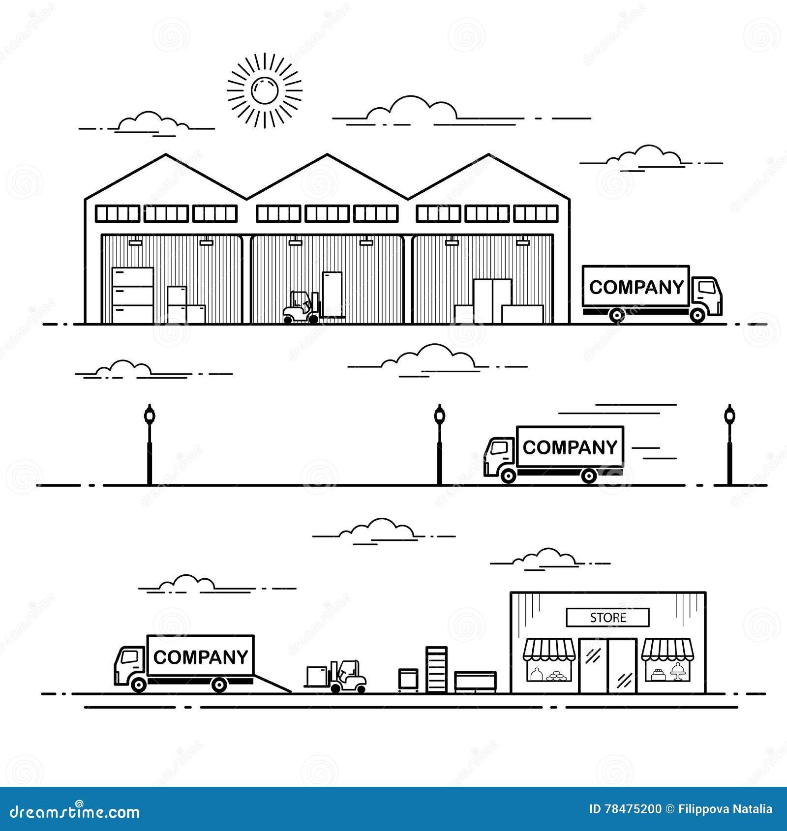 Διαδικασία παράδοσης εξοπλισμού σχεδίου περιλήψεων στο κατάστημα Διανυσματική απεικόνιση τέχνης γραμμών που απομονώνεται στο άσπρ