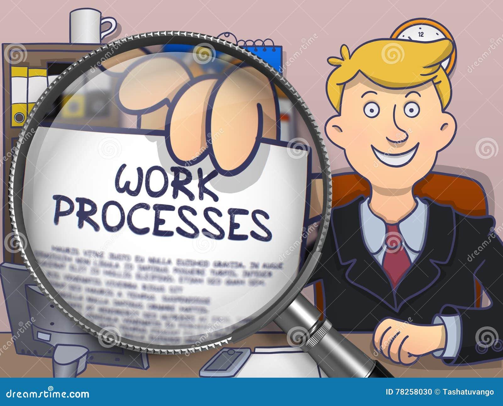 Διαδικασίες εργασίας μέσω της ενίσχυσης - γυαλί Σχέδιο Doodle