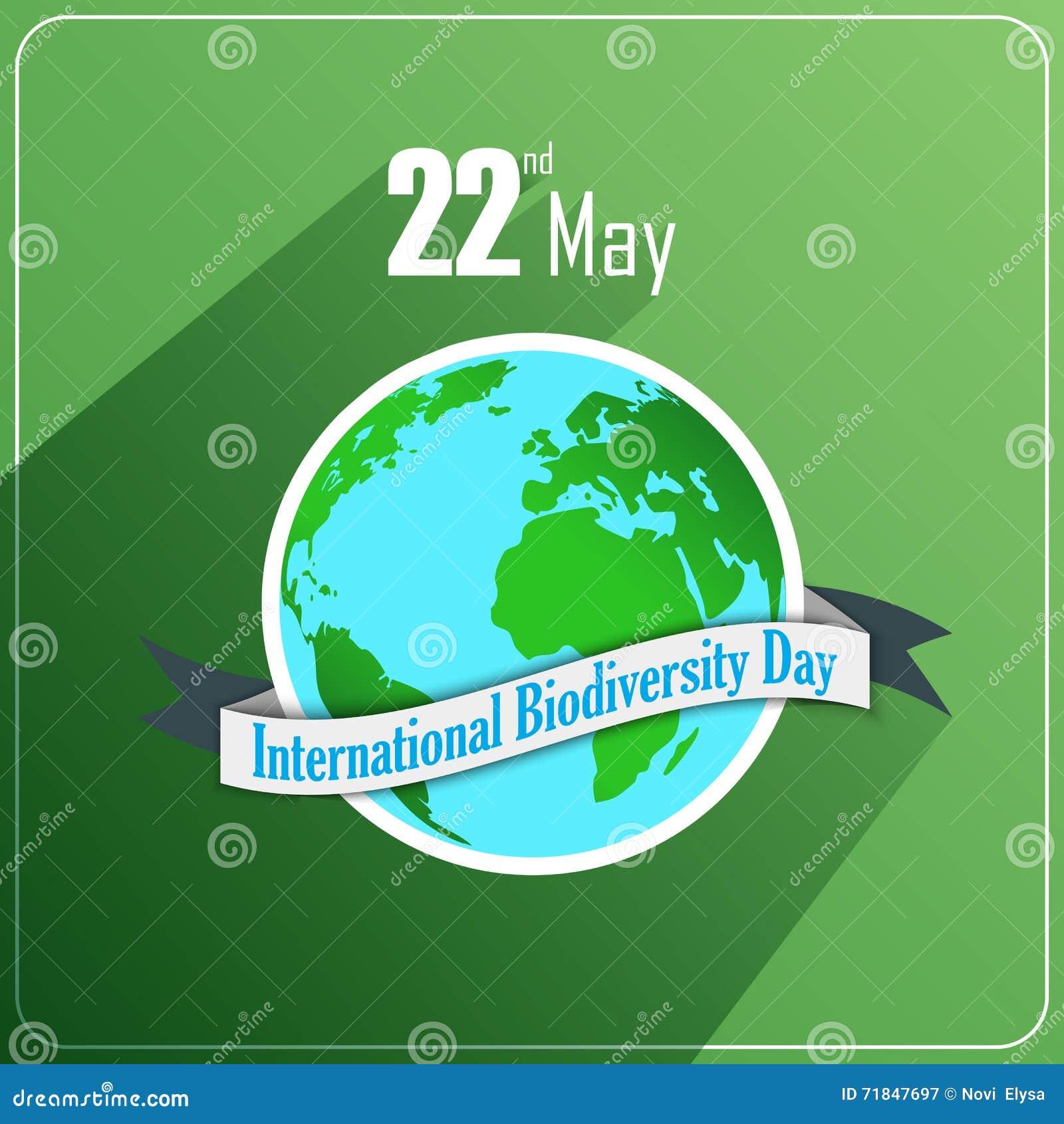 Διεθνής έννοια ημέρας βιοποικιλότητας με τη σφαίρα και την κορδέλλα στο πράσινο υπόβαθρο