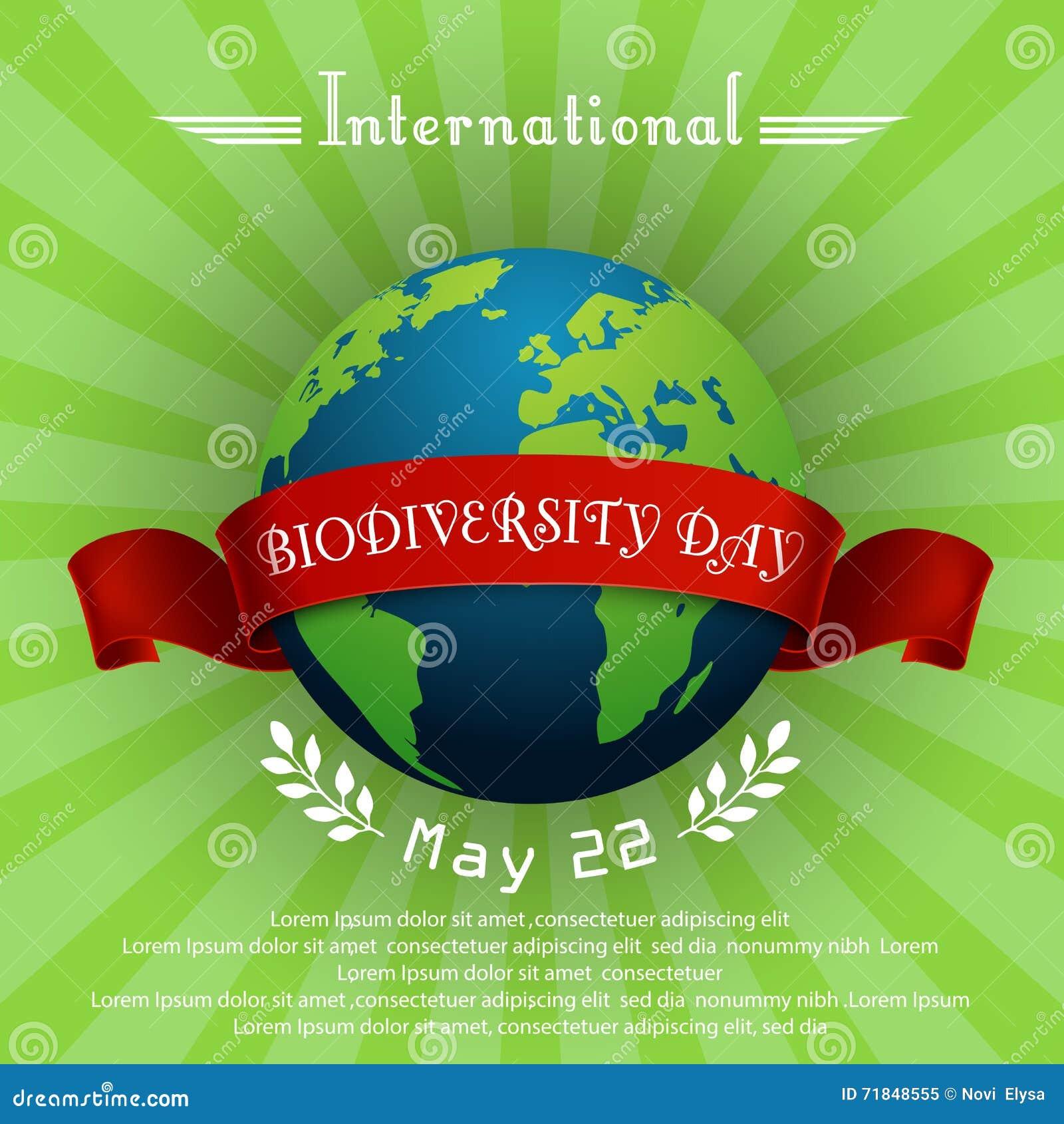 Διεθνής έννοια ημέρας βιοποικιλότητας με τη σφαίρα και την κόκκινη κορδέλλα