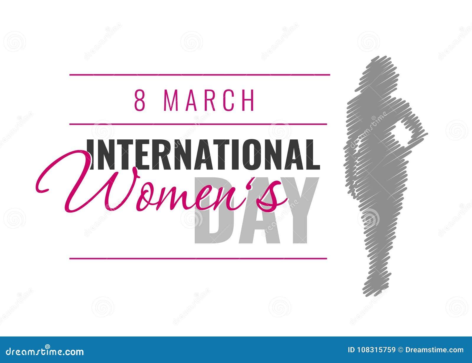 Διεθνής ημέρα γυναικών ` s Διανυσματική απεικόνιση με τη θηλυκή σκιαγραφία