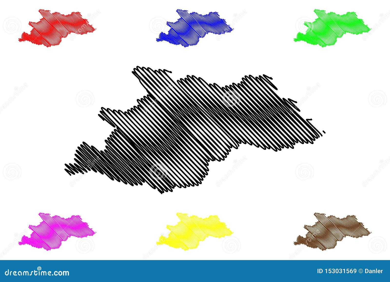 Διοικητικά τμήματα κομητειών Maramures διανυσματική απεικόνιση χαρτών της Ρουμανίας, περιοχή ανάπτυξης nord-φανέλλων, σκίτσο κακο