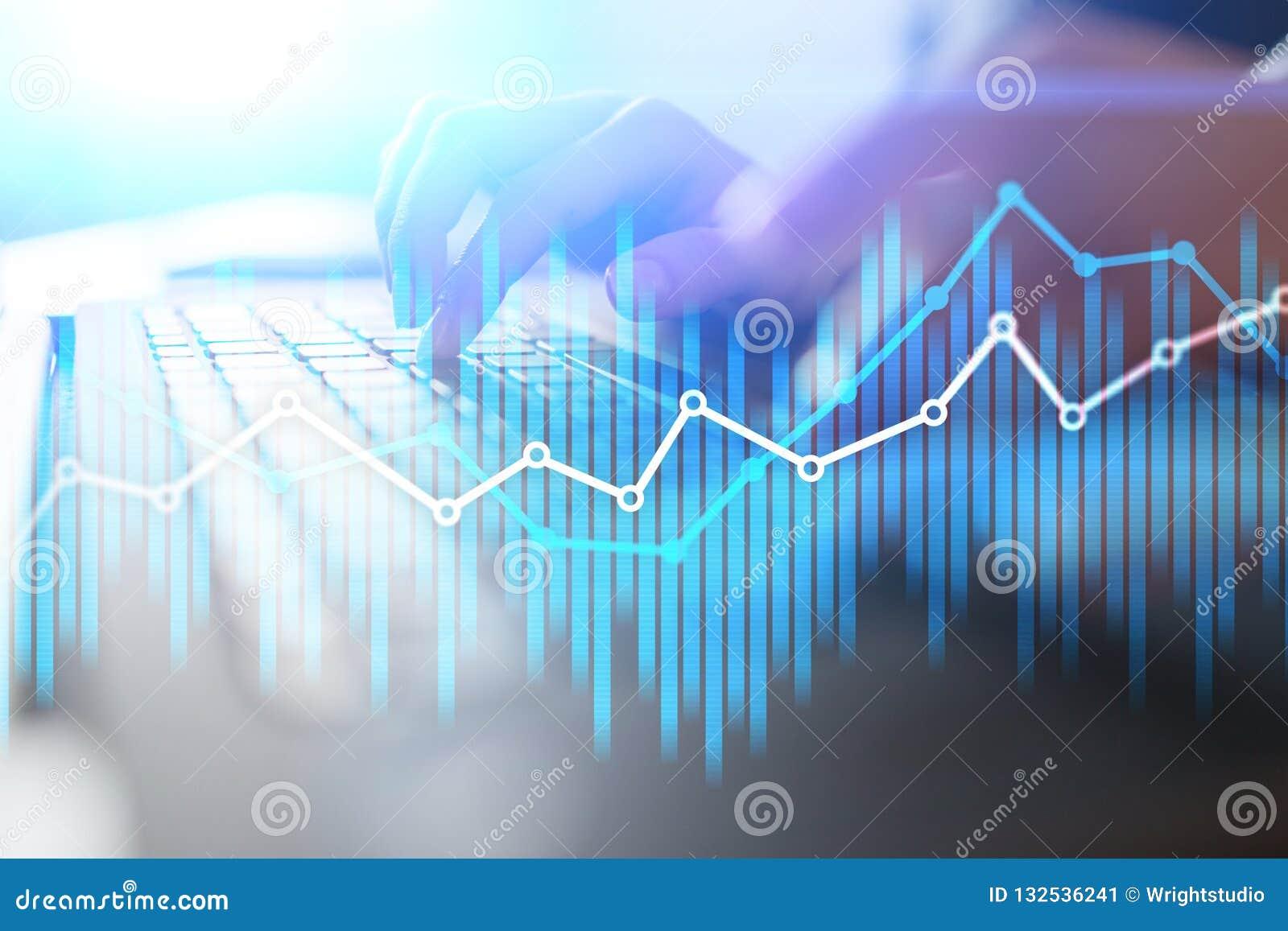 Διπλές οικονομικές διαγράμματα και γραφικές παραστάσεις έκθεσης στην εικονική οθόνη Έννοια on-line εμπορικών συναλλαγών, επιχειρή