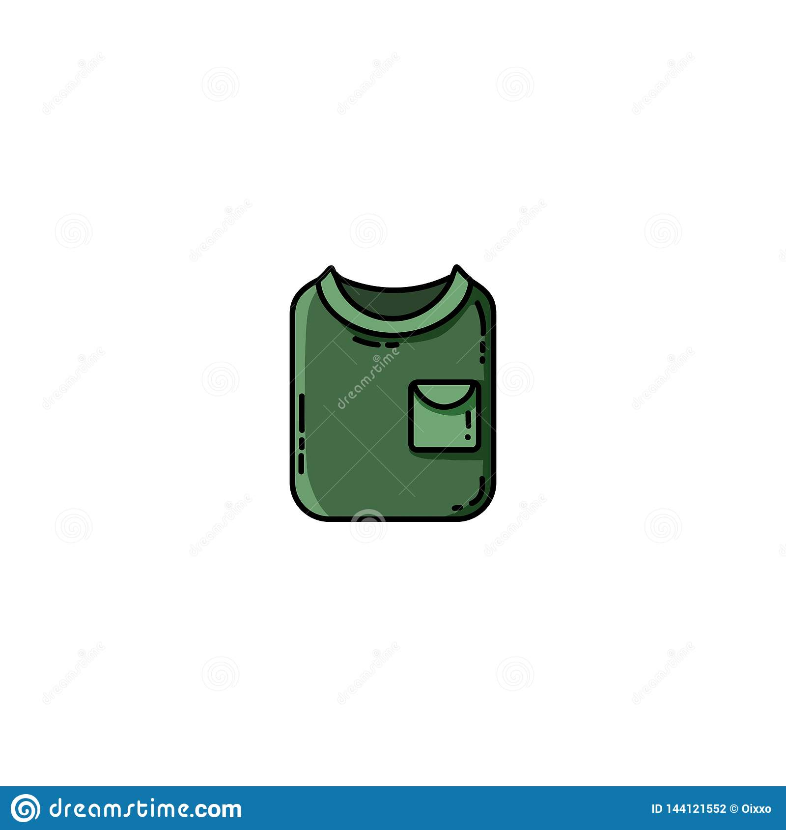 Διπλωμένο Greent tekking επίπεδο εικονίδιο πουκάμισων r
