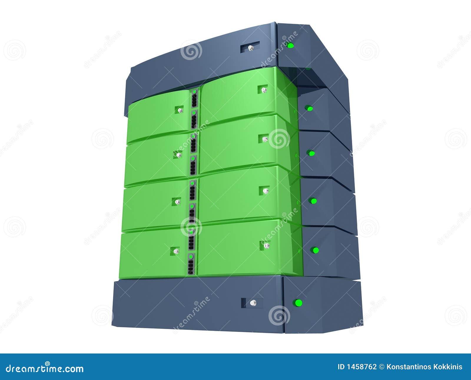 διπλός πράσινος κεντρικός υπολογιστής