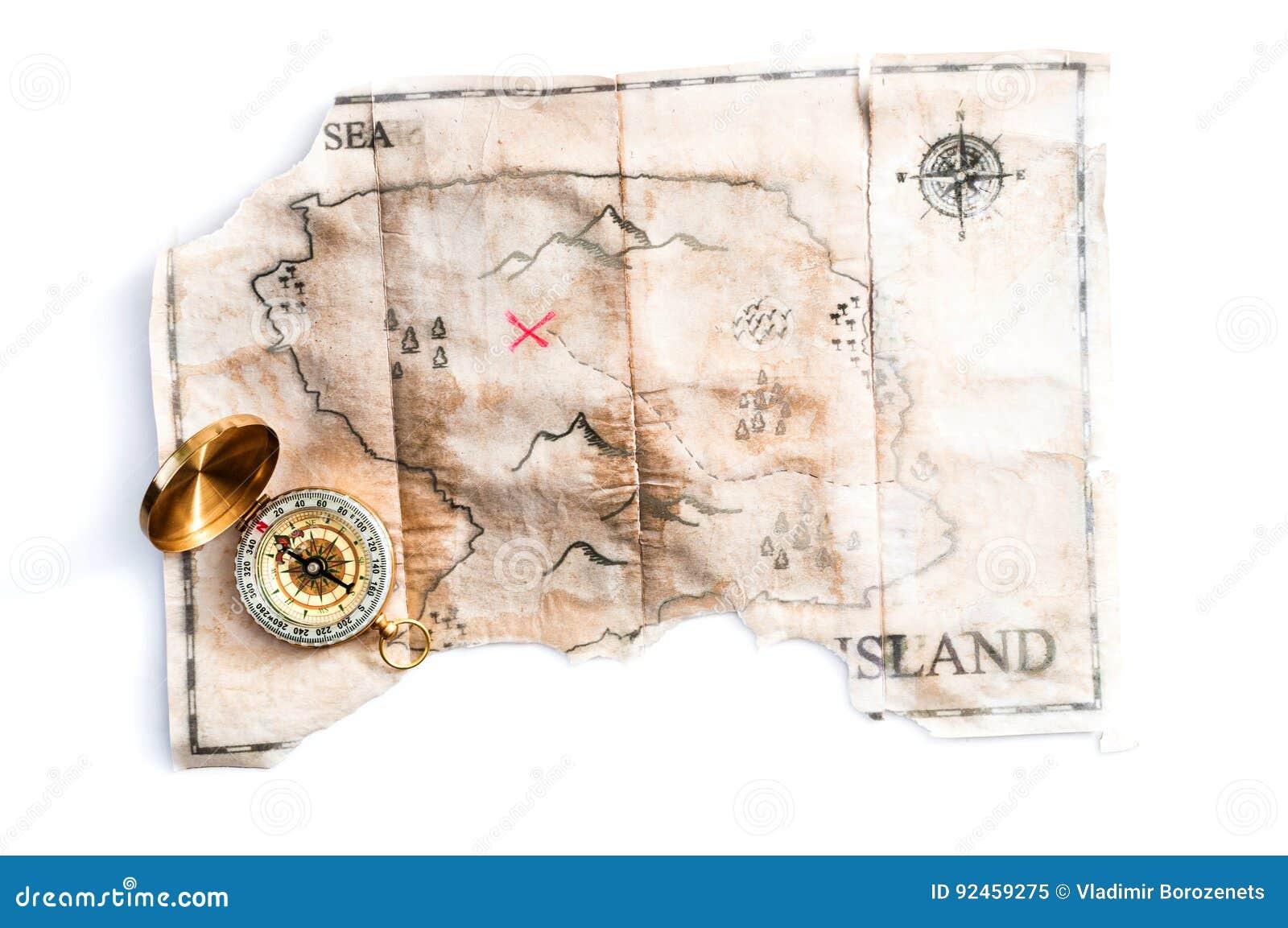 Διπλωμένος εκλεκτής ποιότητας χάρτης του πλαστού νησιού με το στήθος και την πυξίδα θησαυρών πειρατών