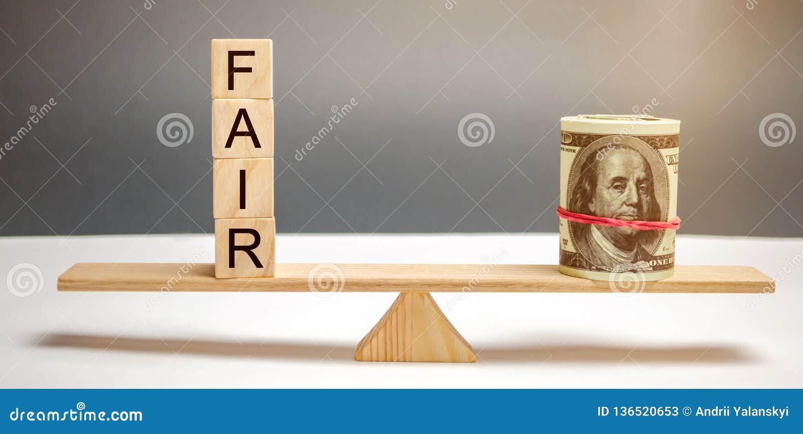 Δολάρια και η έκθεση επιγραφής στους ξύλινους φραγμούς Ισορροπία Δίκαιη τιμολόγηση αξίας, χρέος χρημάτων Δίκαιη διαπραγμάτευση Λο