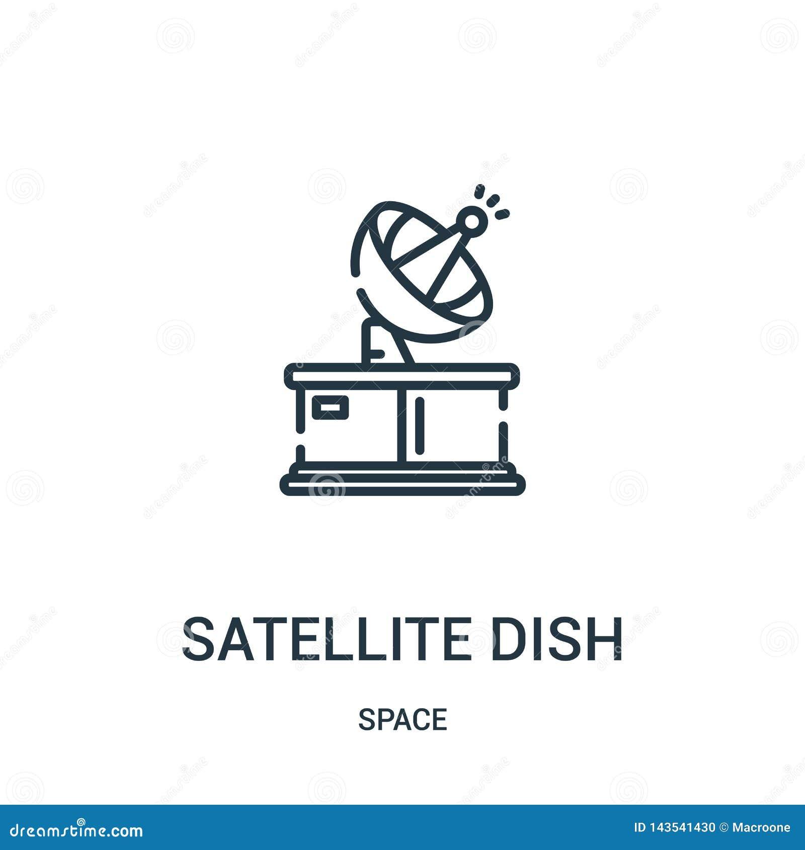 δορυφορικό διάνυσμα εικονιδίων πιάτων από τη διαστημική συλλογή Λεπτή διανυσματική απεικόνιση εικονιδίων περιλήψεων πιάτων γραμμώ