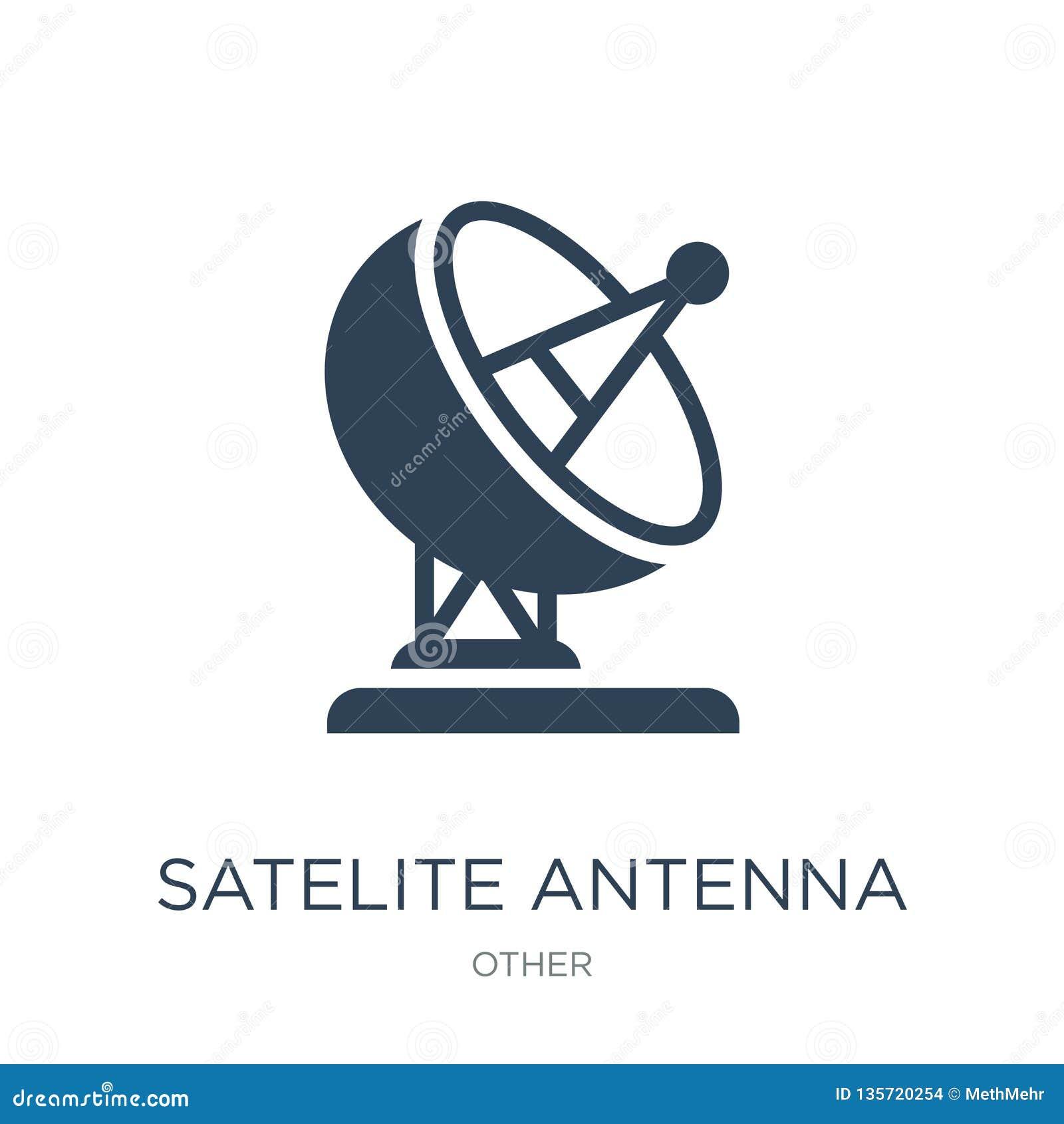 δορυφορικό εικονίδιο κεραιών στο καθιερώνον τη μόδα ύφος σχεδίου δορυφορικό εικονίδιο κεραιών που απομονώνεται στο άσπρο υπόβαθρο