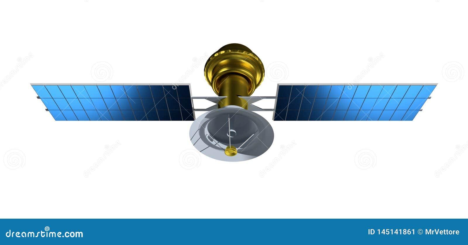 Δορυφόρος που απομονώνεται στο άσπρο υπόβαθρο Ρεαλιστικός δορυφόρος τρισδιάστατος δώστε satelit την απεικόνιση