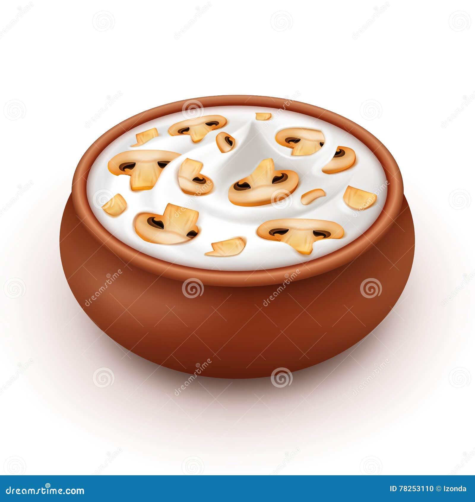 Δοχείο της μαγιονέζας σάλτσας με Champignons μανιταριών