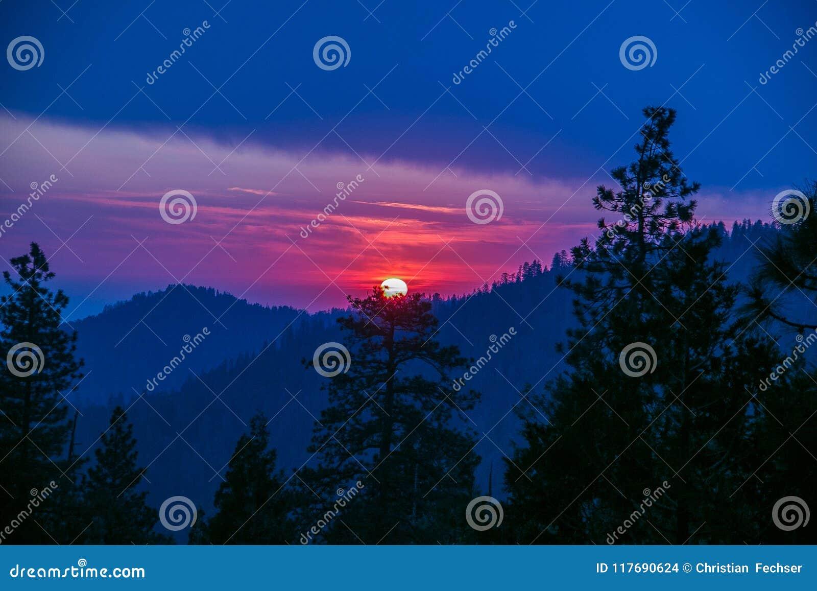 Δραματικό ηλιοβασίλεμα στο Sequoia δάσος