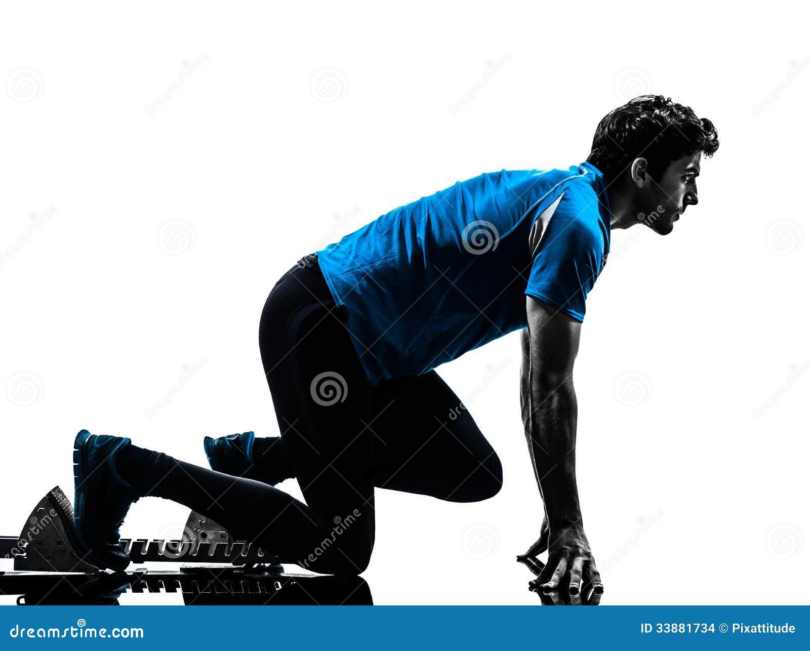 Δρομέας ατόμων sprinter στους αρχικούς φραγμούς   σκιαγραφία