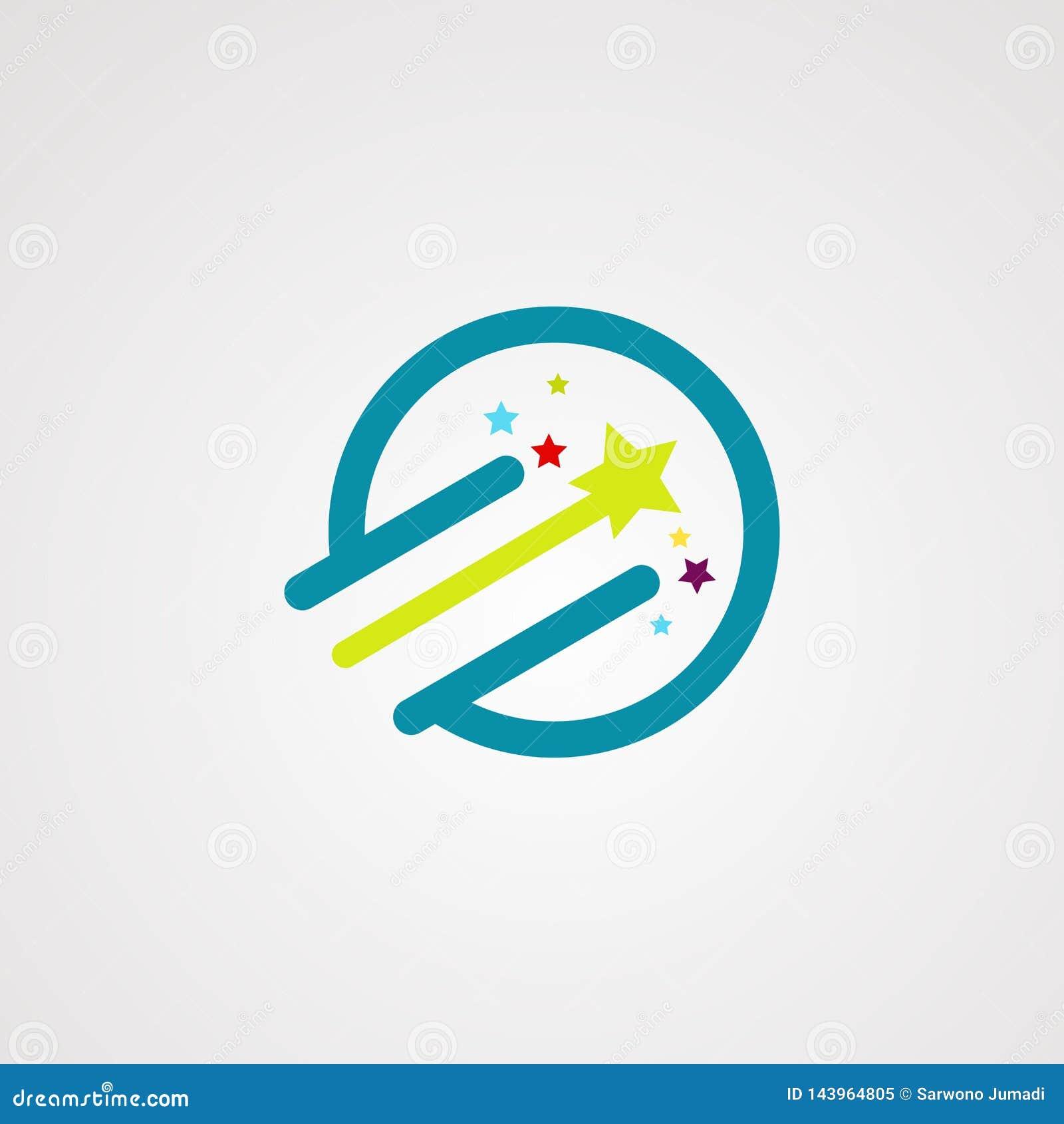 Δροσερό λογότυπο, εικονίδιο, στοιχείο, και πρότυπο αστεριών κύκλων