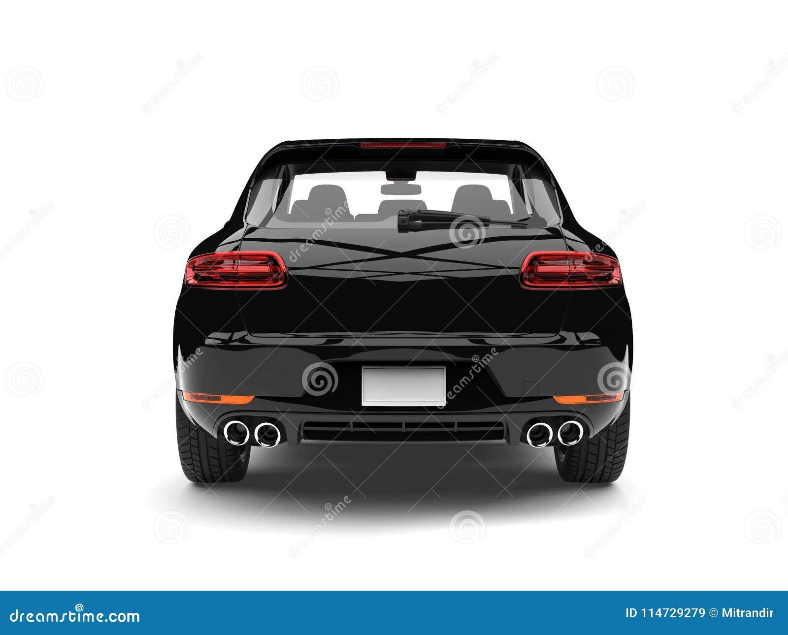 Δροσερό σύγχρονο οικογενειακό αυτοκίνητο - ο λαμπρός Μαύρος - πίσω άποψη
