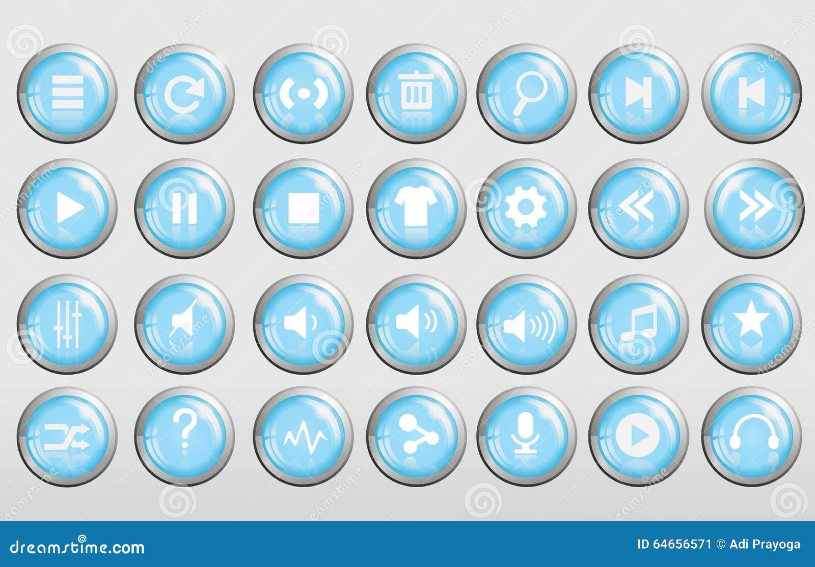 Δροσερό τρισδιάστατο μπλε κουμπί μουσικής στιλπνό