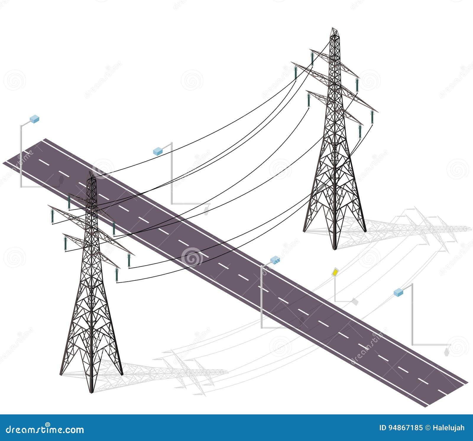 Δρόμος για τα αυτοκίνητα που διασχίζονται από τις γραμμές υψηλής τάσης, λαμπτήρες οδών Διατομή υποδομής