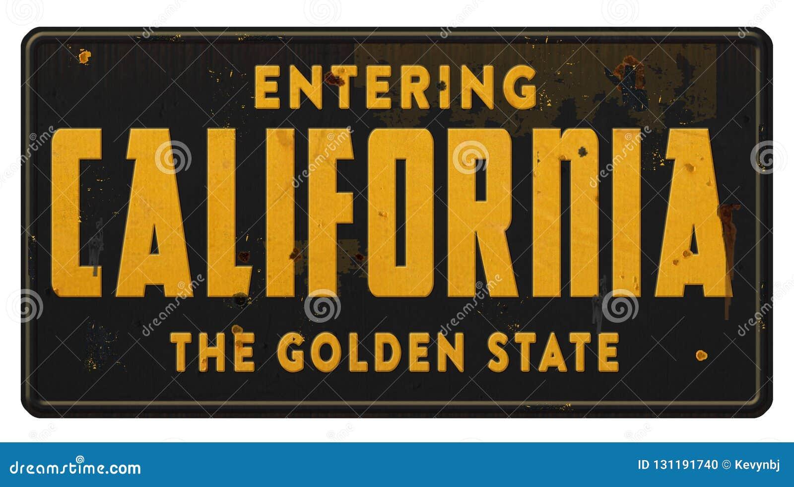 Δρόμος Grunge αυτοκινητόδρομων εθνικών οδών κρατικών σημαδιών Καλιφόρνιας το κράτος ροδάκινων
