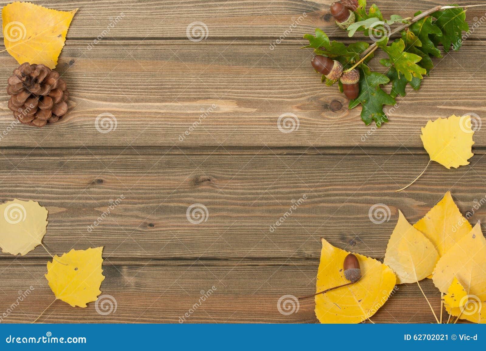 Δρύινα βελανίδια, κώνος πεύκων, φύλλα φθινοπώρου πίνακας ξύλινος