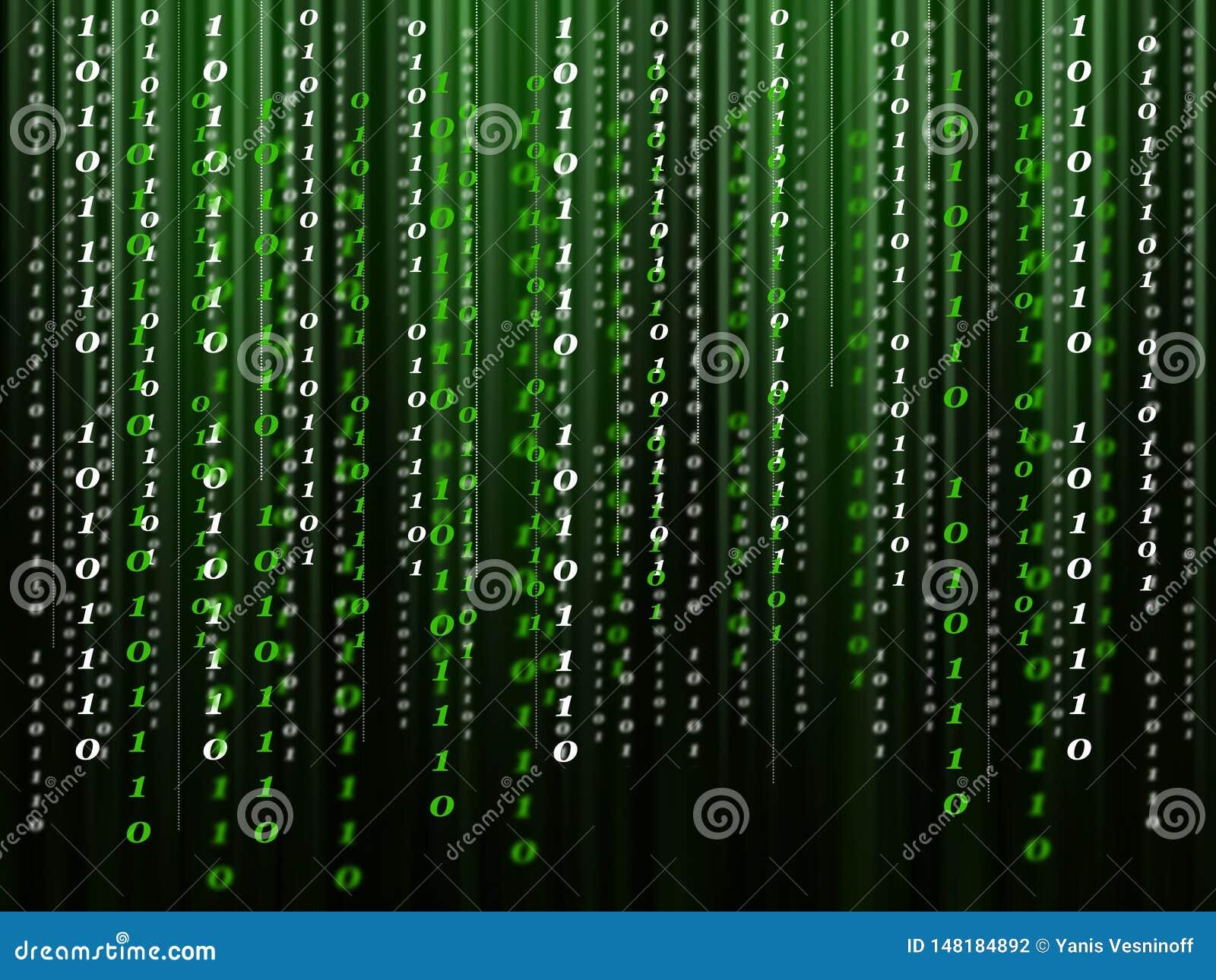Δυαδικός κώδικας υπολογιστών που ρέει στο μαύρος-πράσινο υπόβαθρο