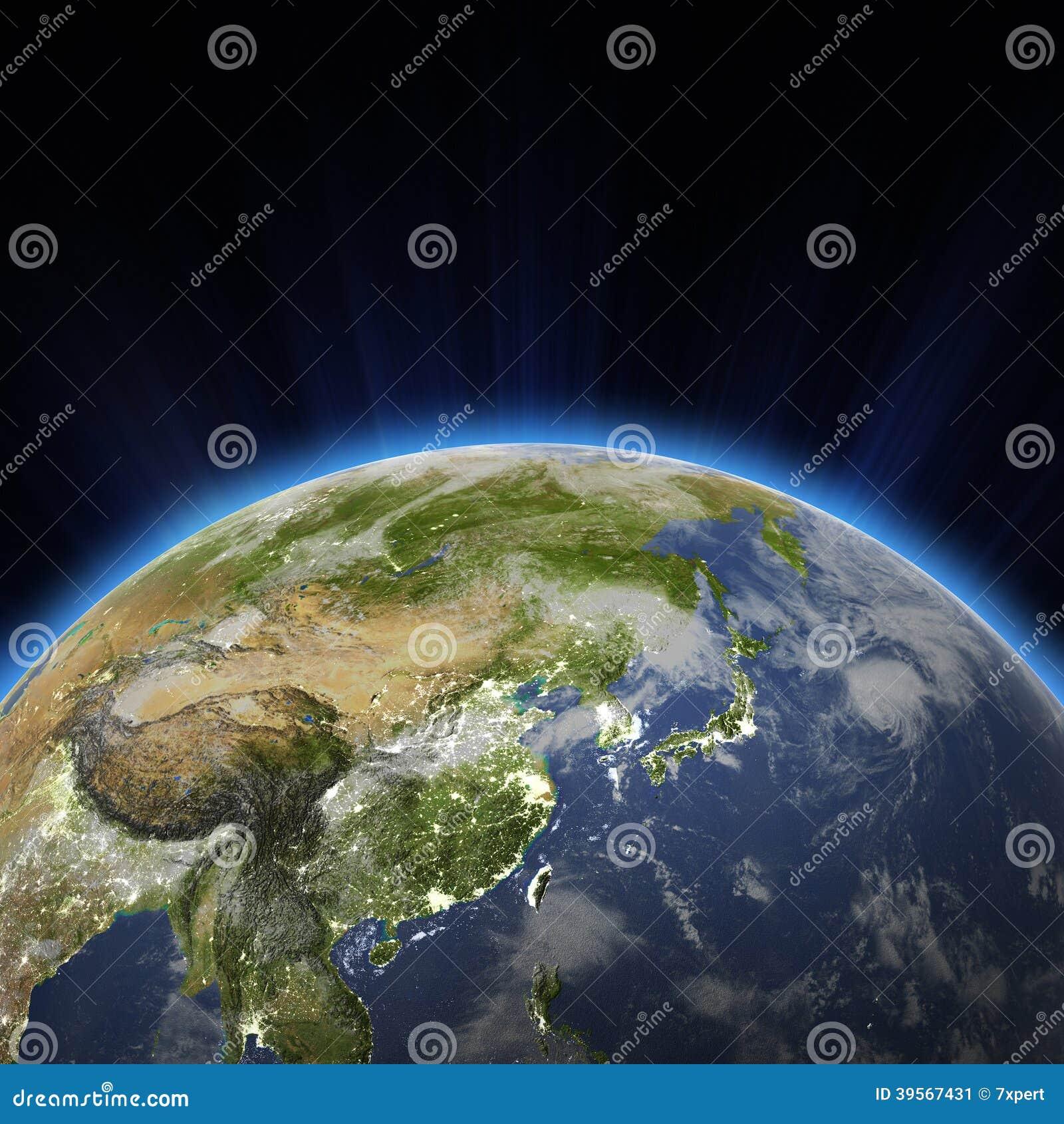 Δυτική Ασία - η πόλη της Κίνας, Ιαπωνία, Κορέα ανάβει τη νύχτα