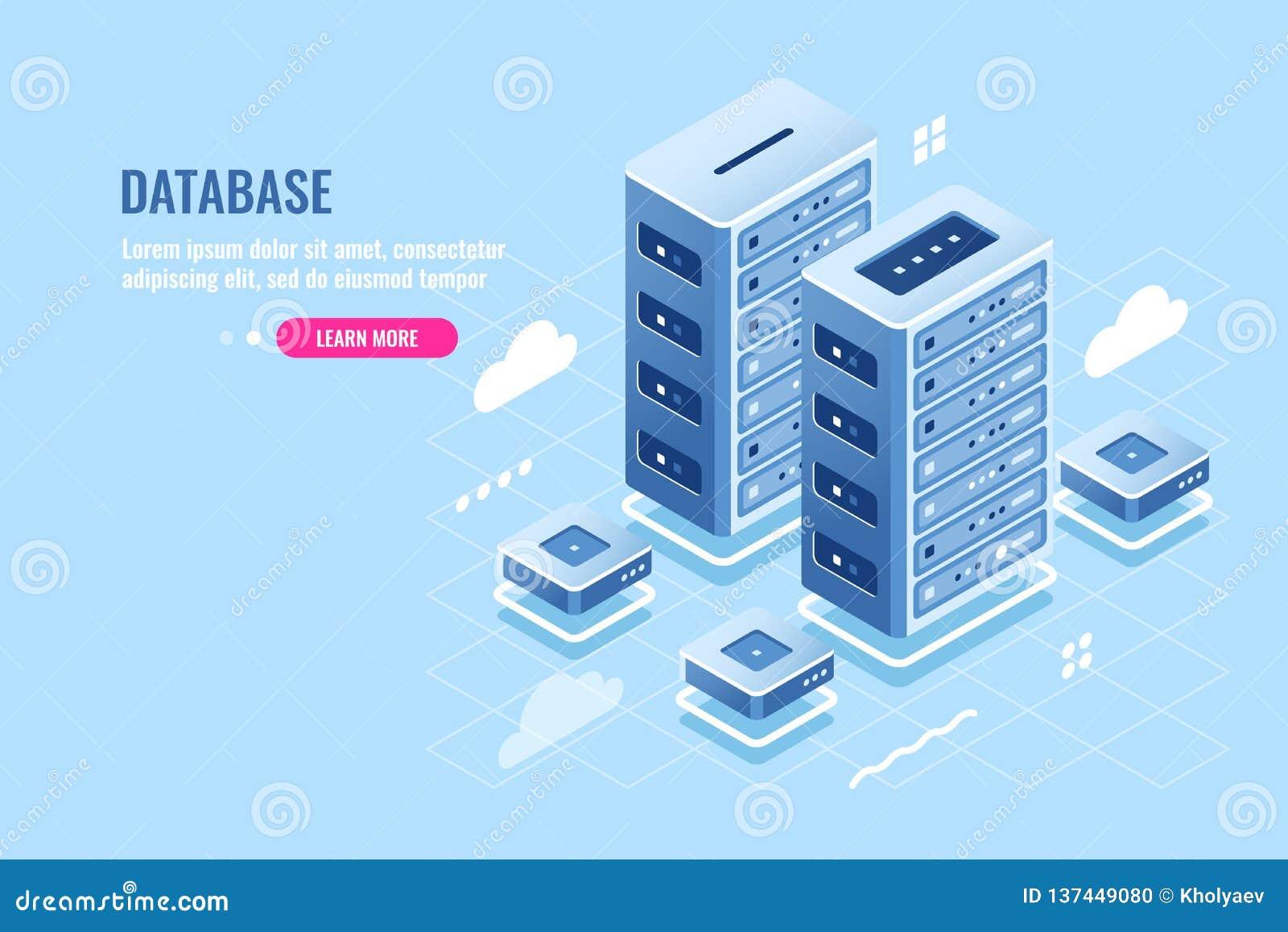 Δωμάτιο κεντρικών υπολογιστών, φιλοξενία ιστοχώρου, αποθήκευση σύννεφων, βάση δεδομένων και isometric εικονίδιο κέντρων δεδομένων