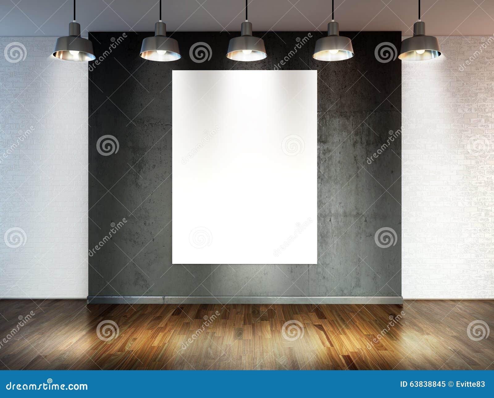Δωμάτιο με τους λαμπτήρες επικέντρων, κενό διάστημα με το ξύλινους δάπεδο και το τουβλότοιχο ως υπόβαθρο ή σκηνικό για την τοποθέ