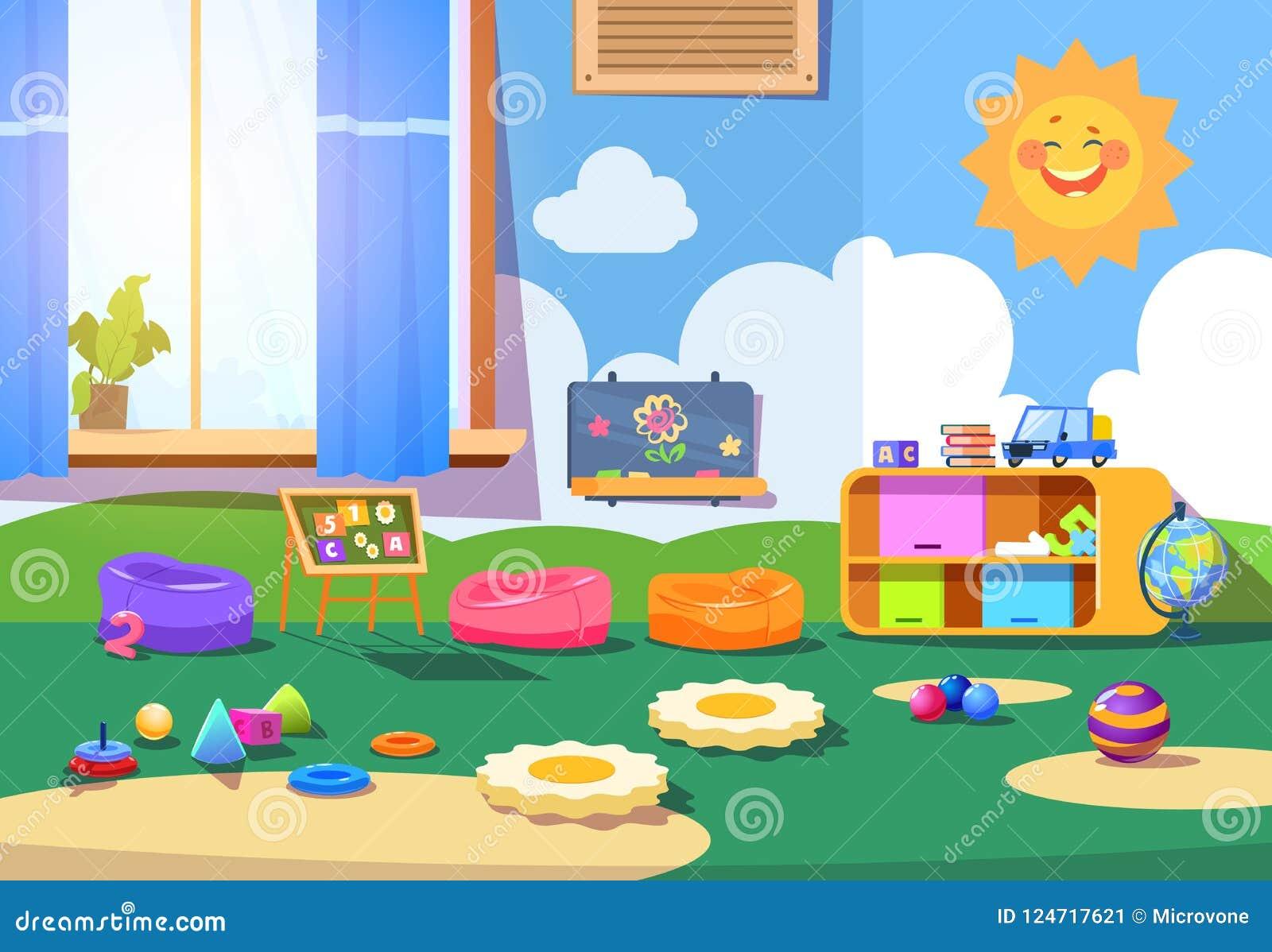 Δωμάτιο παιδικών σταθμών Κενό δωμάτιο playschool με τα παιχνίδια και τα έπιπλα Διανυσματικό εσωτερικό κινούμενων σχεδίων χώρων γι