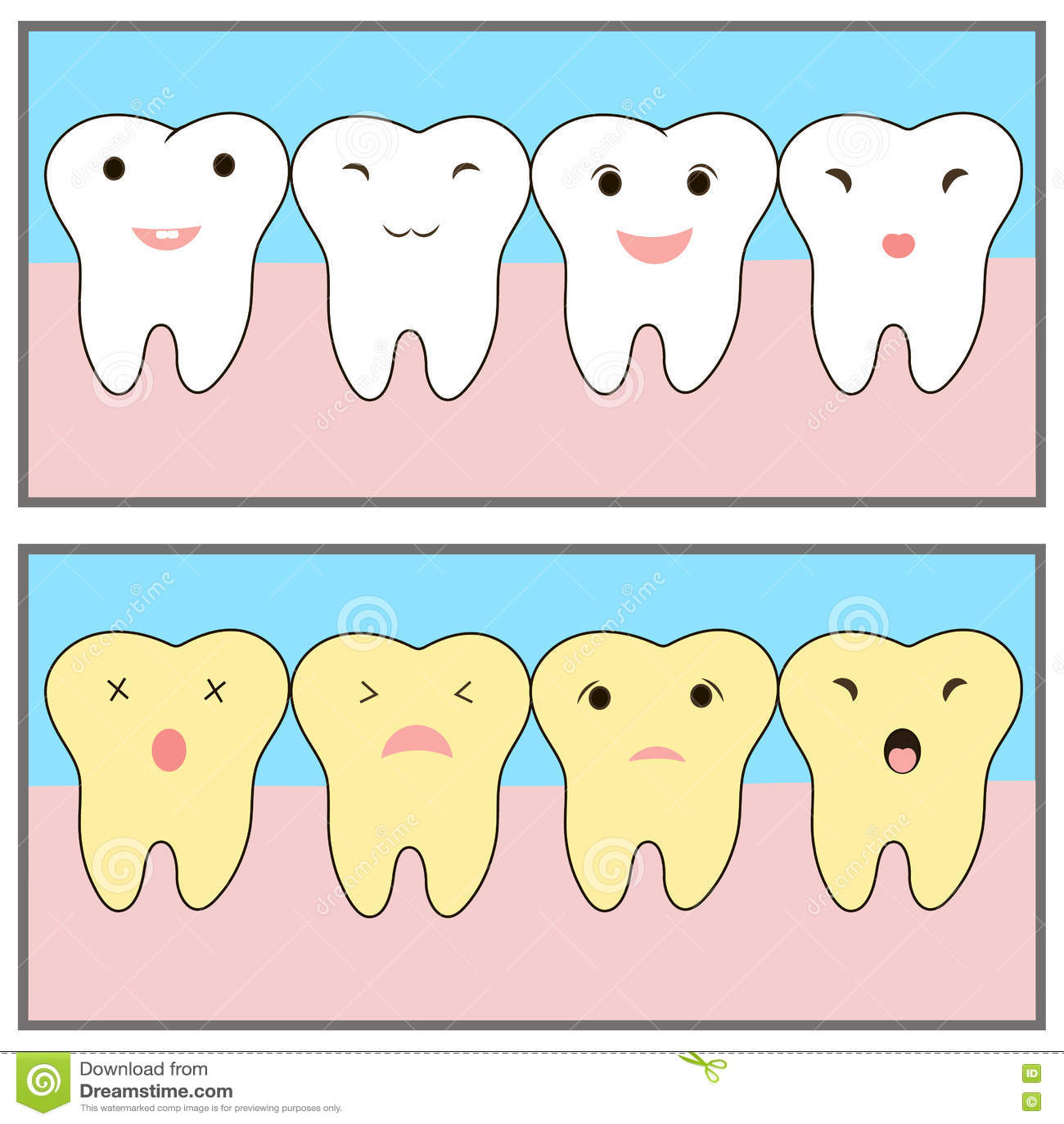 Δόντια που λευκαίνουν πριν και μετά από το παράδειγμα χαρακτήρες χαριτωμένοι συγκινήσεις αστείες