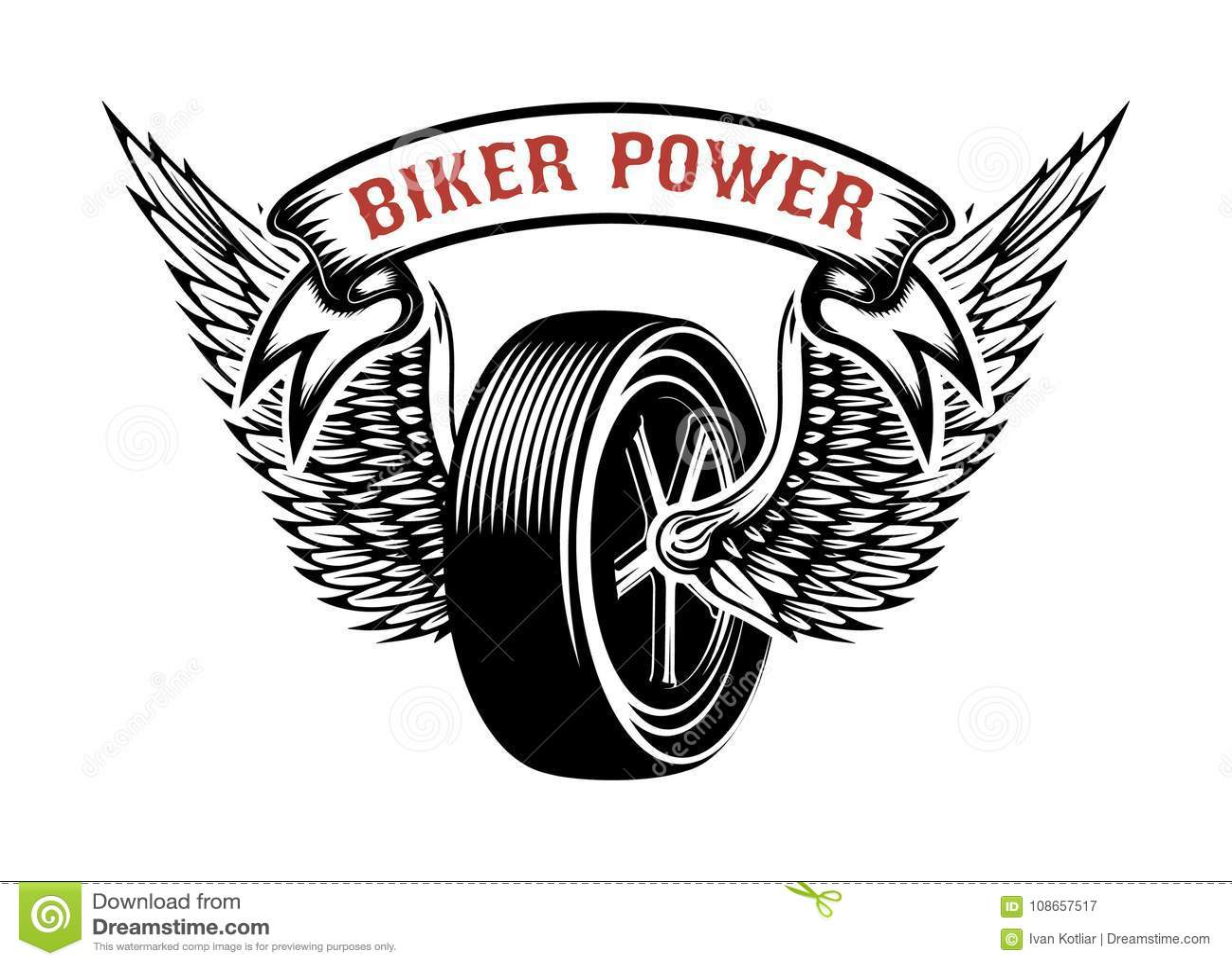 Δύναμη ποδηλατών Έμβλημα με τη φτερωτή ρόδα Στοιχείο σχεδίου για το λογότυπο, ετικέτα, έμβλημα, σημάδι