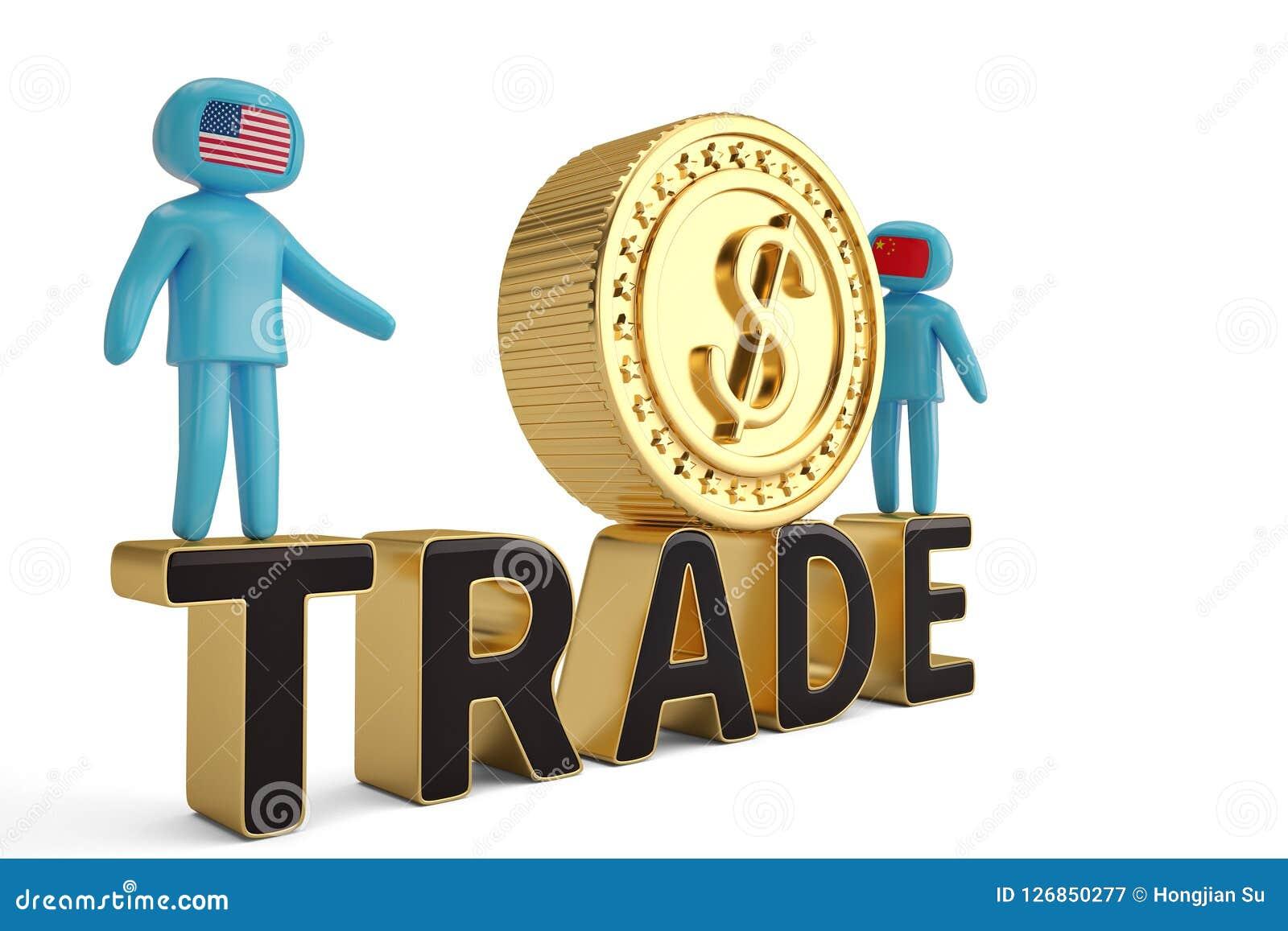 Δύο άνθρωποι αριθμού στην εμπορική λέξη και το μεγάλο χρυσό τρισδιάστατο illustratio νομισμάτων