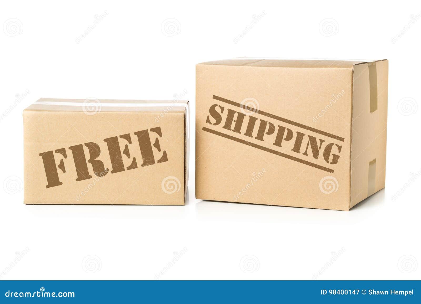 Δύο δέματα χαρτοκιβωτίων με την ελεύθερη στέλνοντας σφραγίδα