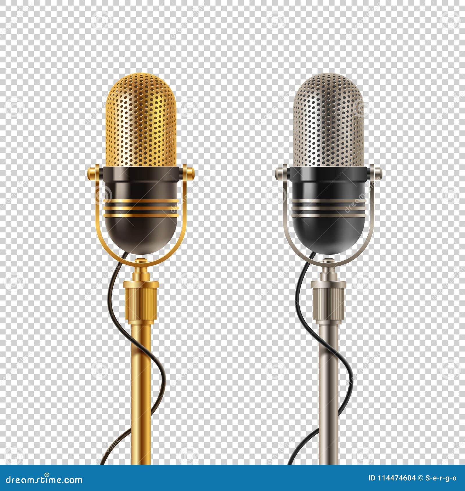 Δύο αναδρομικά μικρόφωνα - χρυσά και χρώμιο, σε ένα ελεγμένο υπόβαθρο