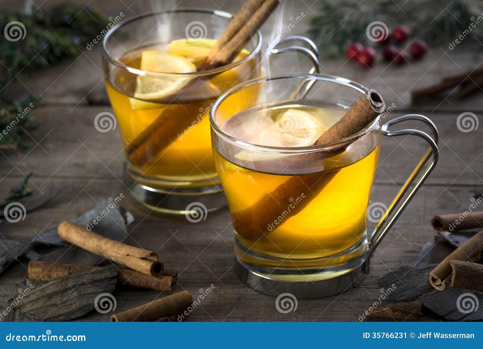 Δύο ζεστά ποτά κοκτέιλ χυμού φοινικόδεντρου με την κανέλα και Lemmon